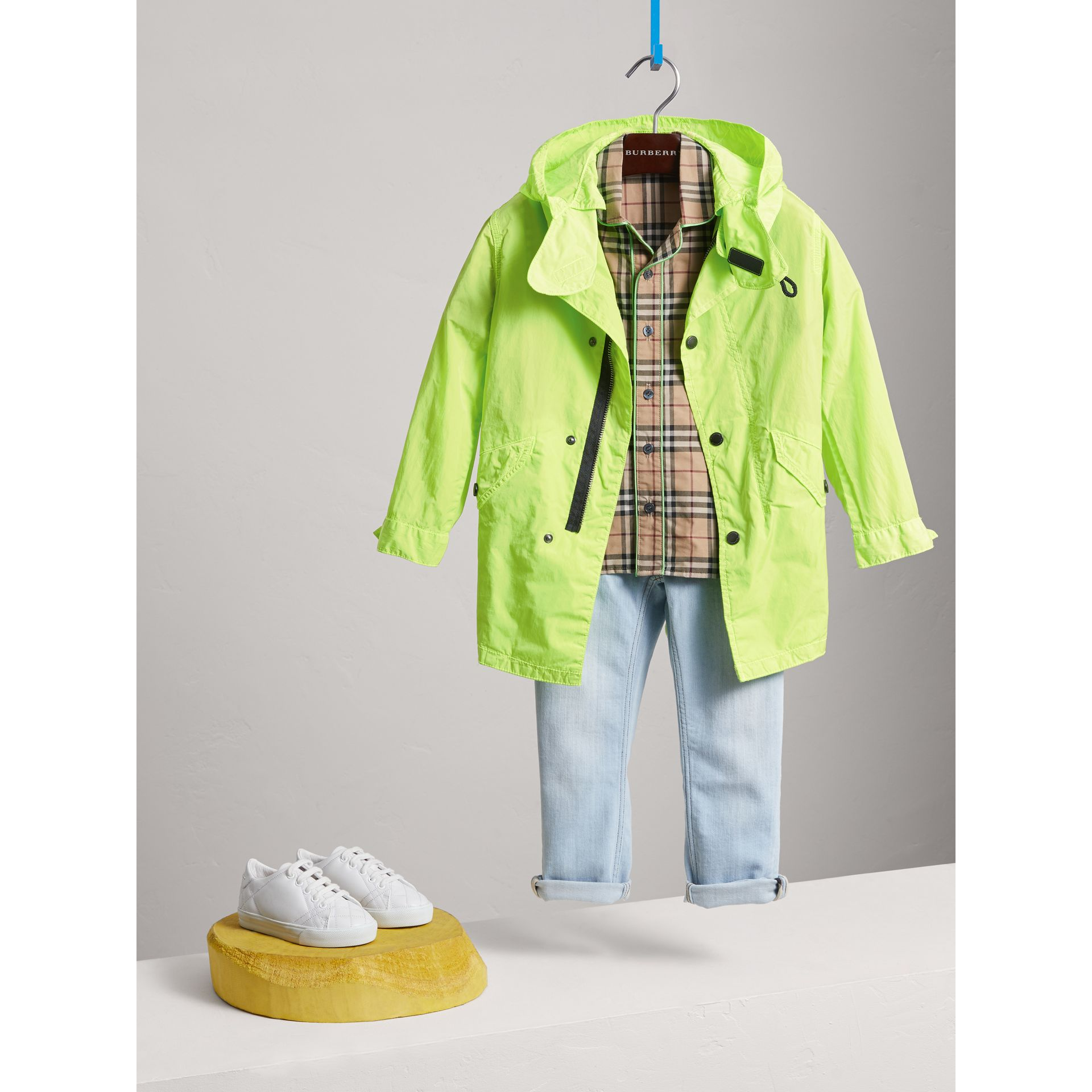 Detachable Hood Lightweight Parka Coat in Neon Yellow - Boy | Burberry - gallery image 0