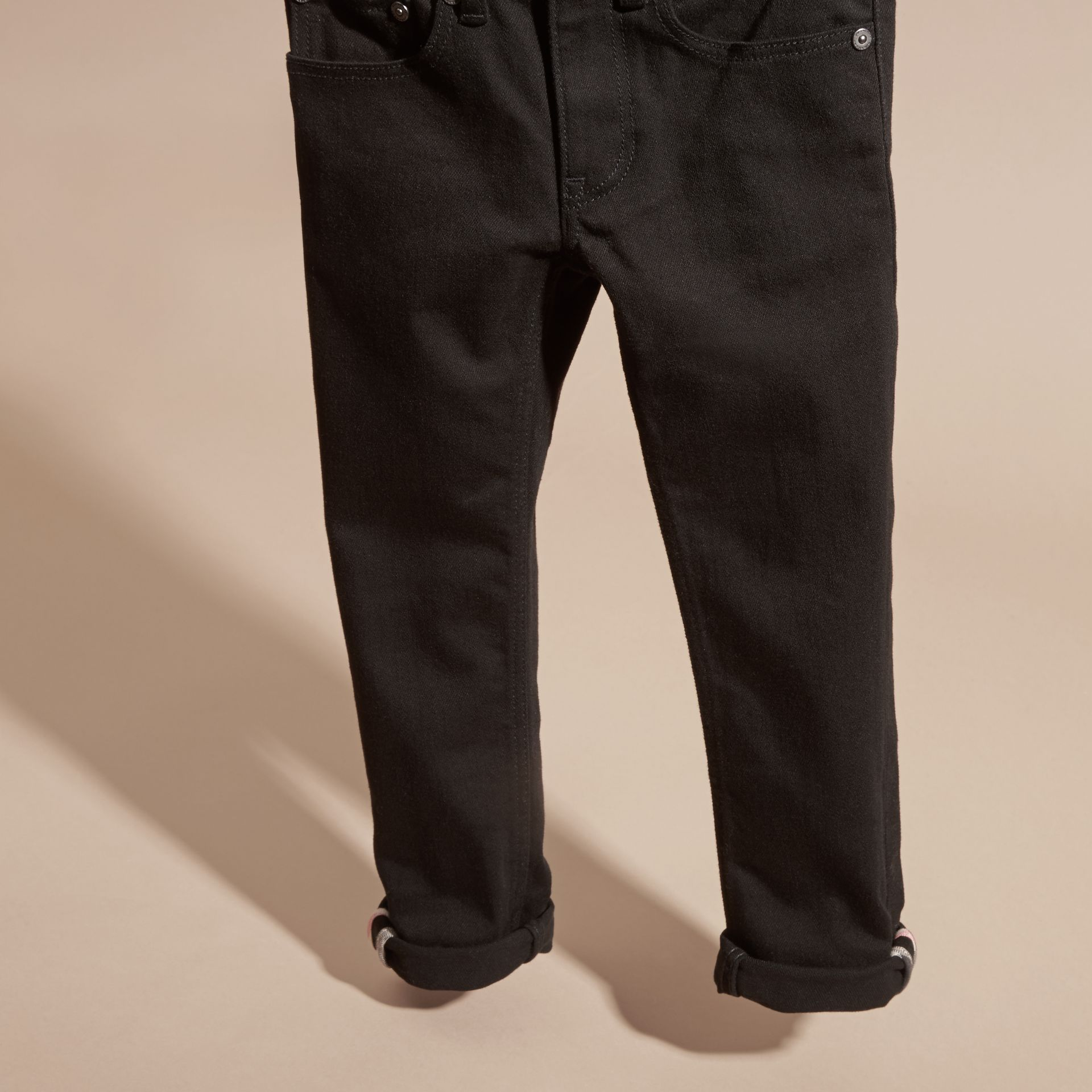 Skinny Fit Stretch Denim Jeans in Black - Boy | Burberry Canada - gallery image 2