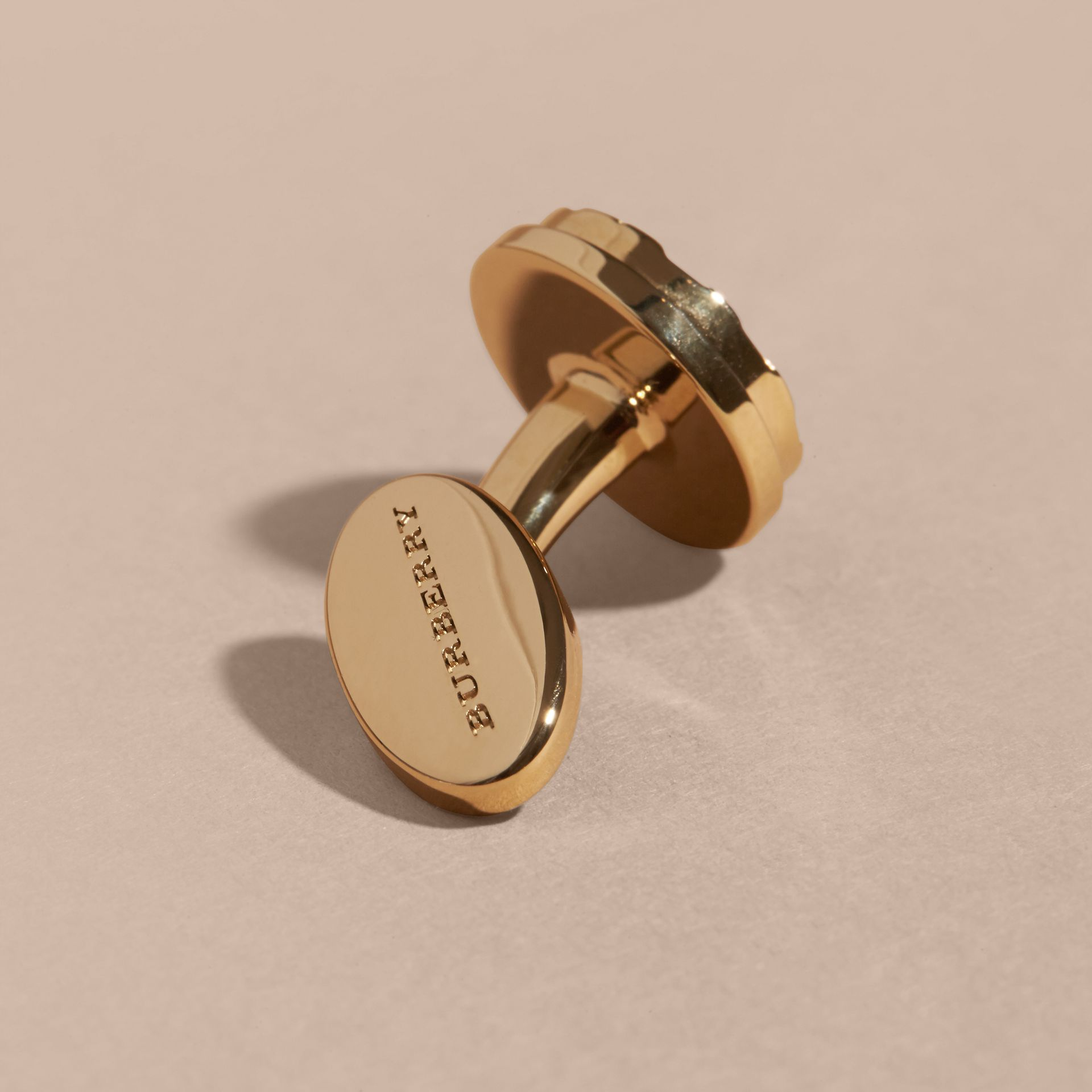 Check-engraved Round Cufflinks in Pale Gold - gallery image 3