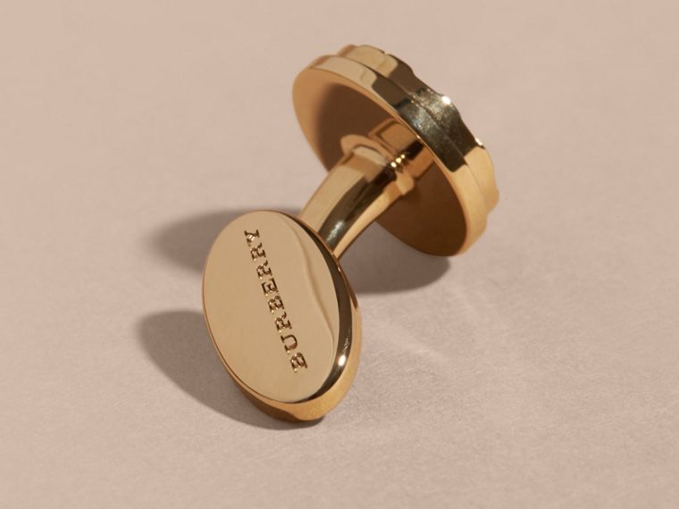 Check-engraved Round Cufflinks in Pale Gold - Men | Burberry Australia - cell image 2