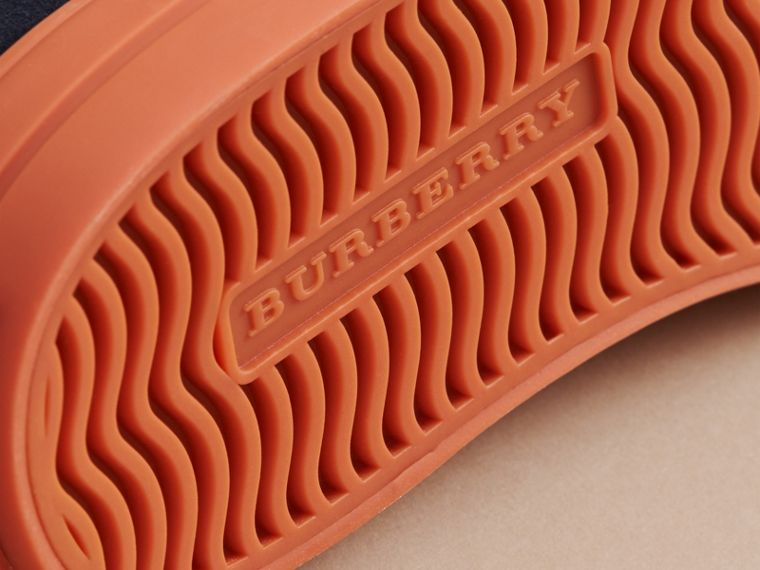 Suede Brogue-detail Trainers in Blue Carbon | Burberry United Kingdom - cell image 1