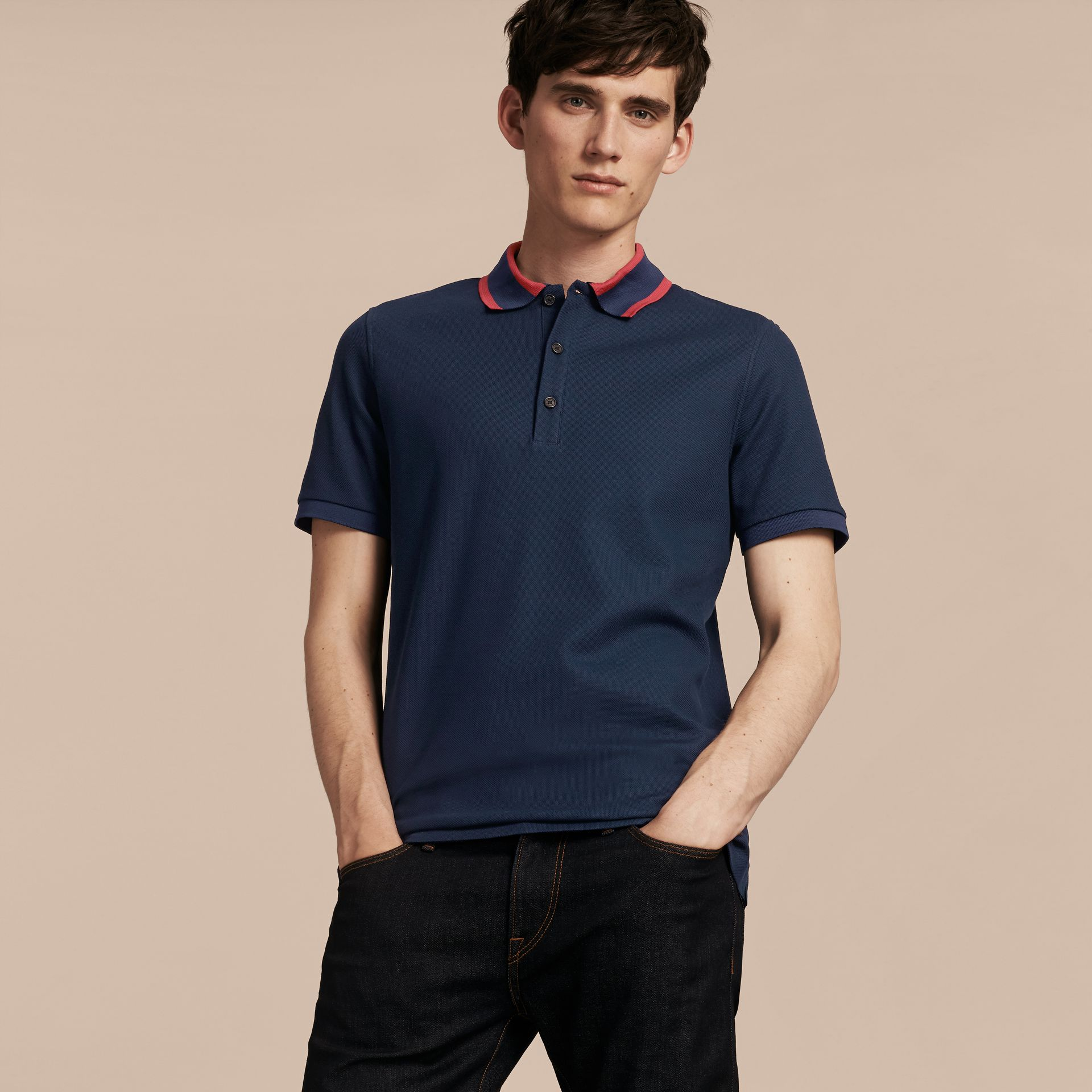 Striped Collar Cotton Piqué Polo Shirt in Navy Blue - gallery image 6