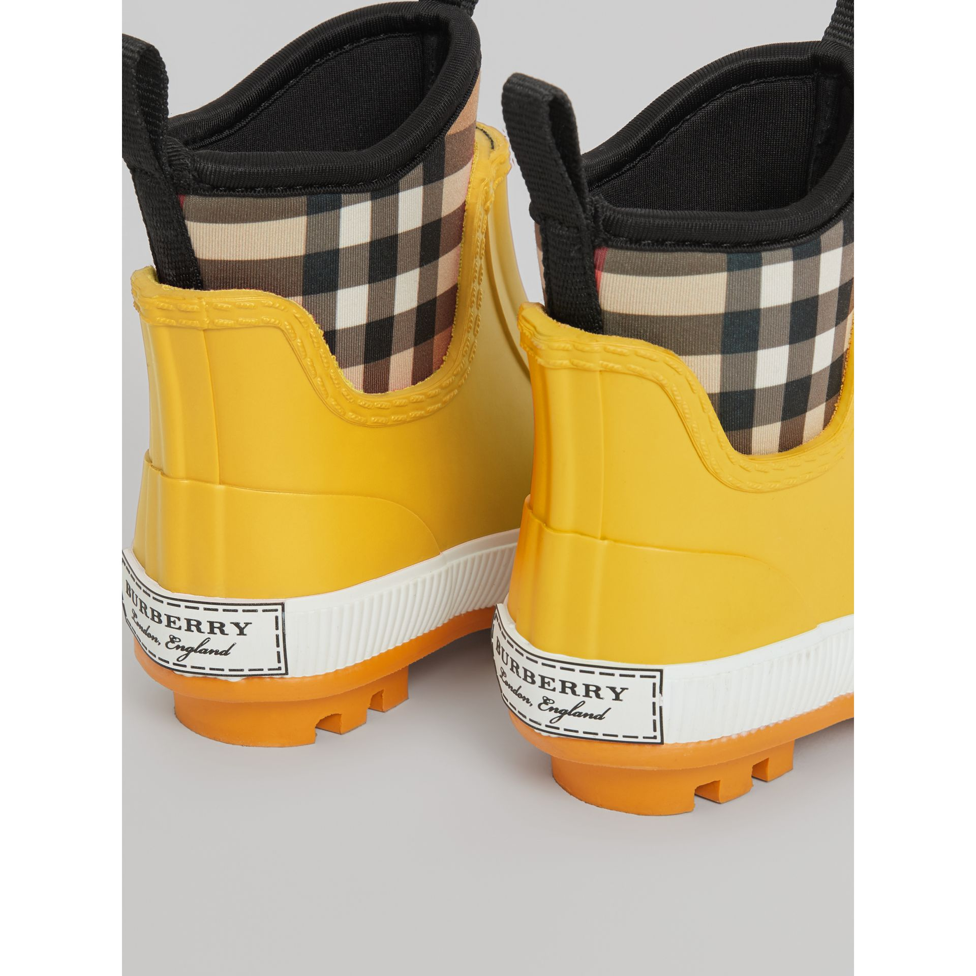 Vintage Check Neoprene and Rubber Rain Boots in Vibrant Lemon - Children | Burberry - gallery image 2
