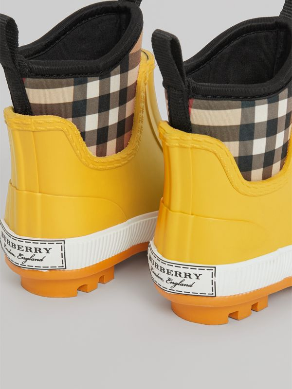 Vintage Check Neoprene and Rubber Rain Boots in Vibrant Lemon - Children | Burberry - cell image 2