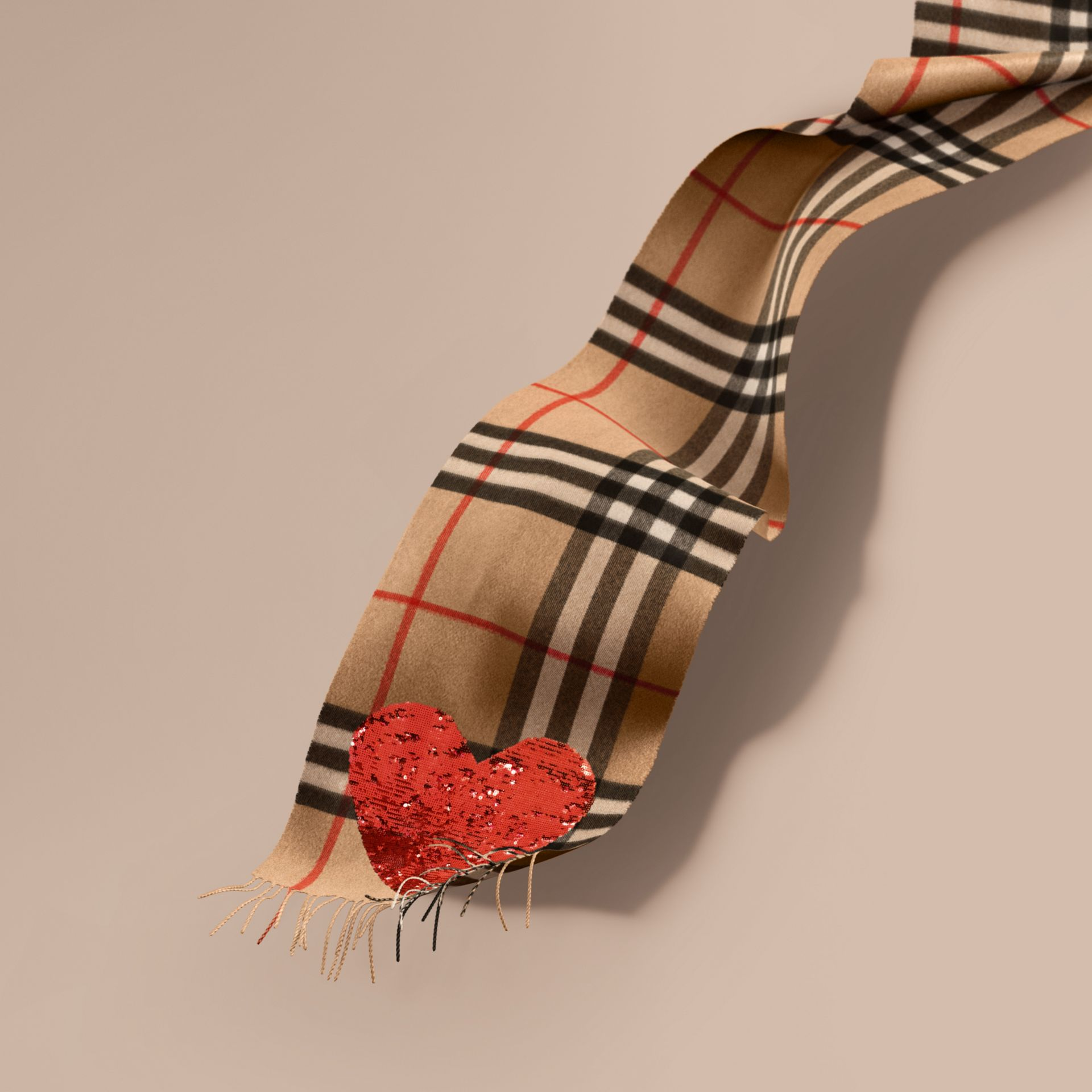 Camel/red The Classic Cashmere Scarf in Check with Sequined Heart Camel/red - gallery image 1