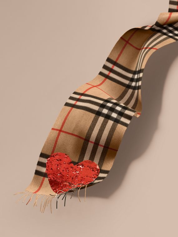 The Classic Cashmere Scarf in Check with Sequined Heart Camel/red