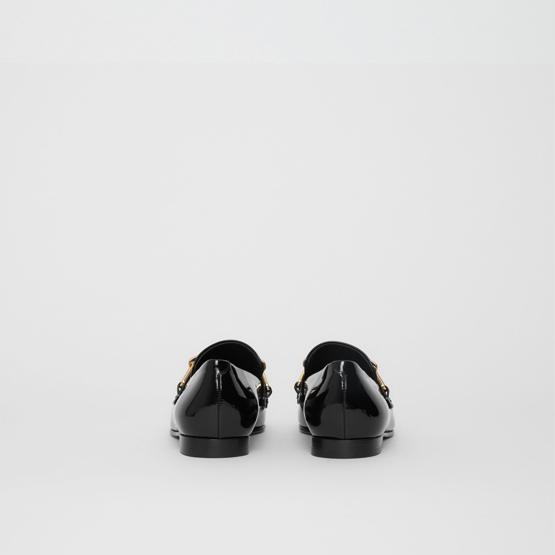 Link Detail Patent Leather Loafers in Black - Women | Burberry United Kingdom - gallery image 4
