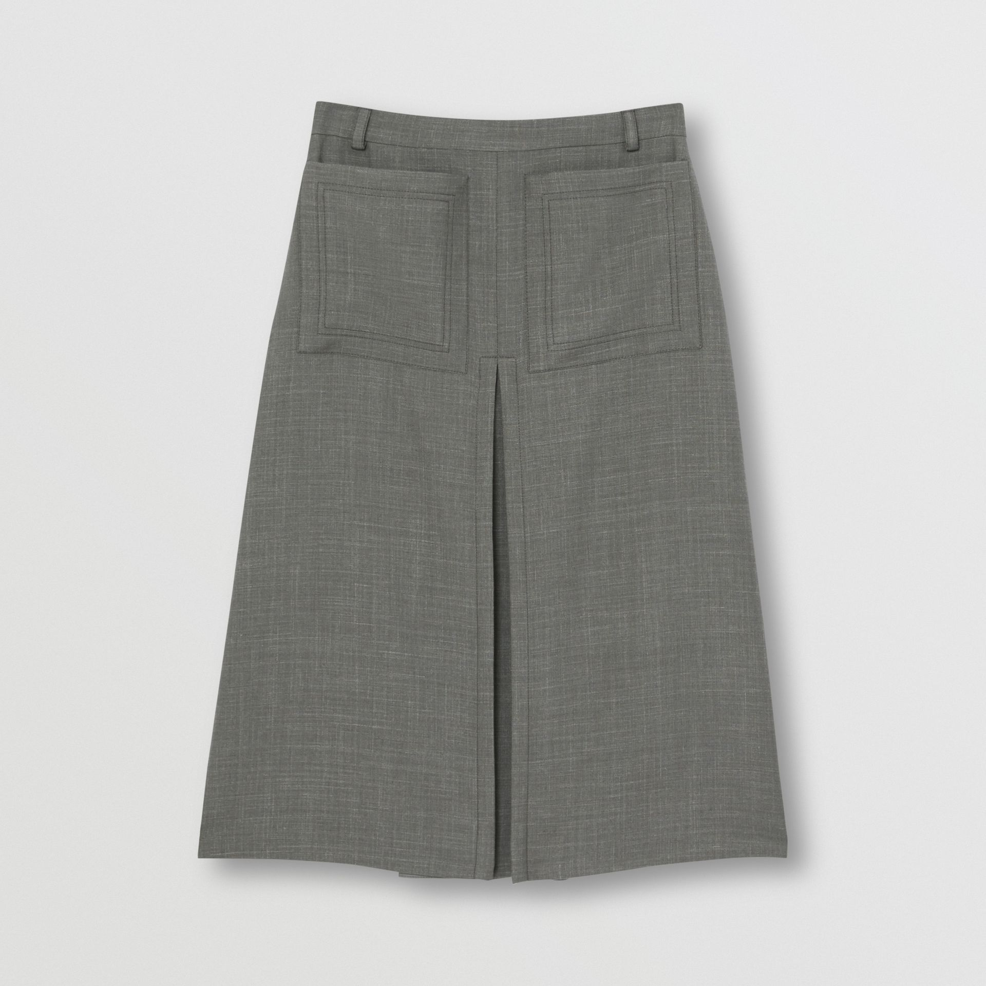 Box-pleat Detail Wool Silk Blend A-line Skirt in Charcoal Grey - Women | Burberry - gallery image 3