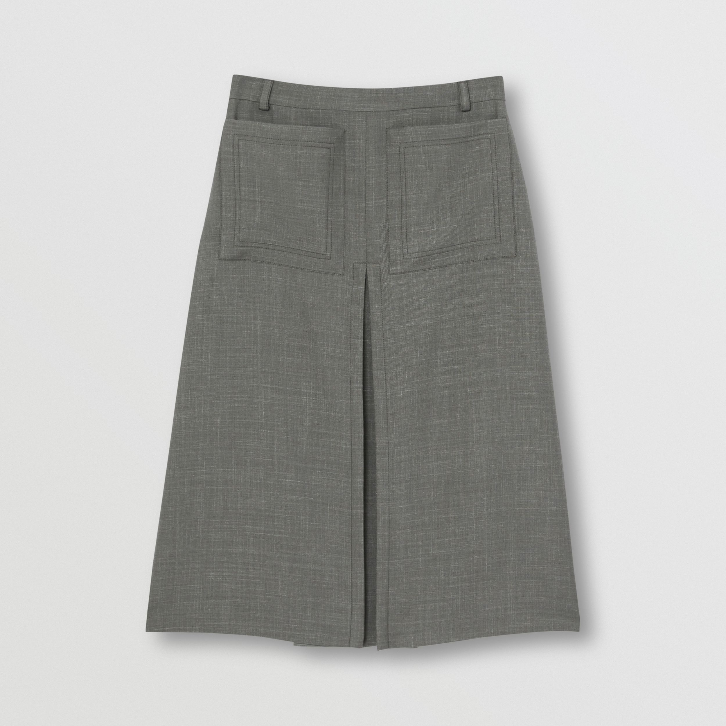 Box-pleat Detail Wool Silk Blend A-line Skirt in Charcoal Grey - Women | Burberry - 4