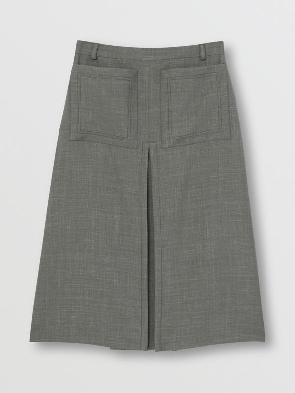Box-pleat Detail Wool Silk Blend A-line Skirt in Charcoal Grey - Women | Burberry - cell image 3
