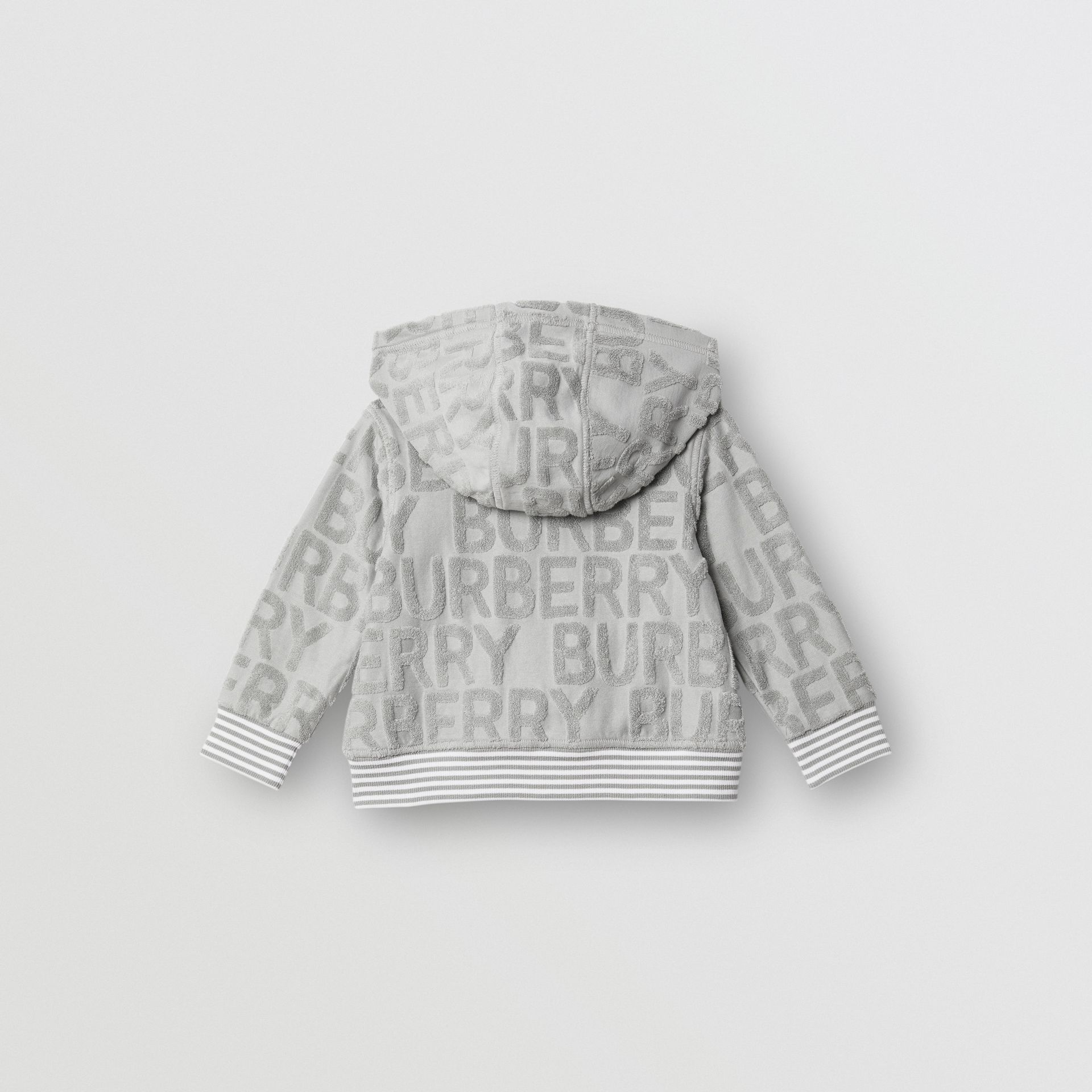 Logo Towelling Hooded Top in Pale Grey - Children | Burberry United Kingdom - gallery image 4