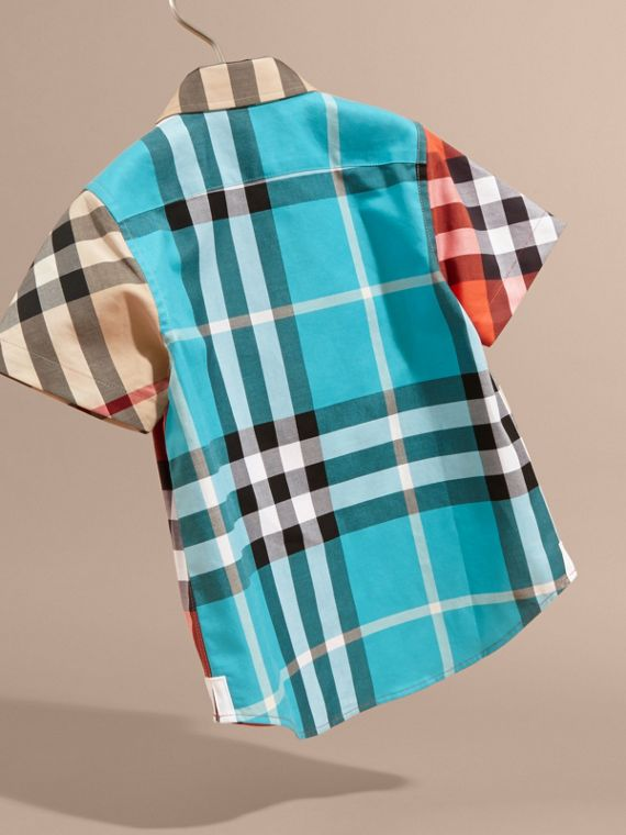 Short-sleeved Contrast Check Cotton Shirt in New Classic - Boy | Burberry Singapore - cell image 3