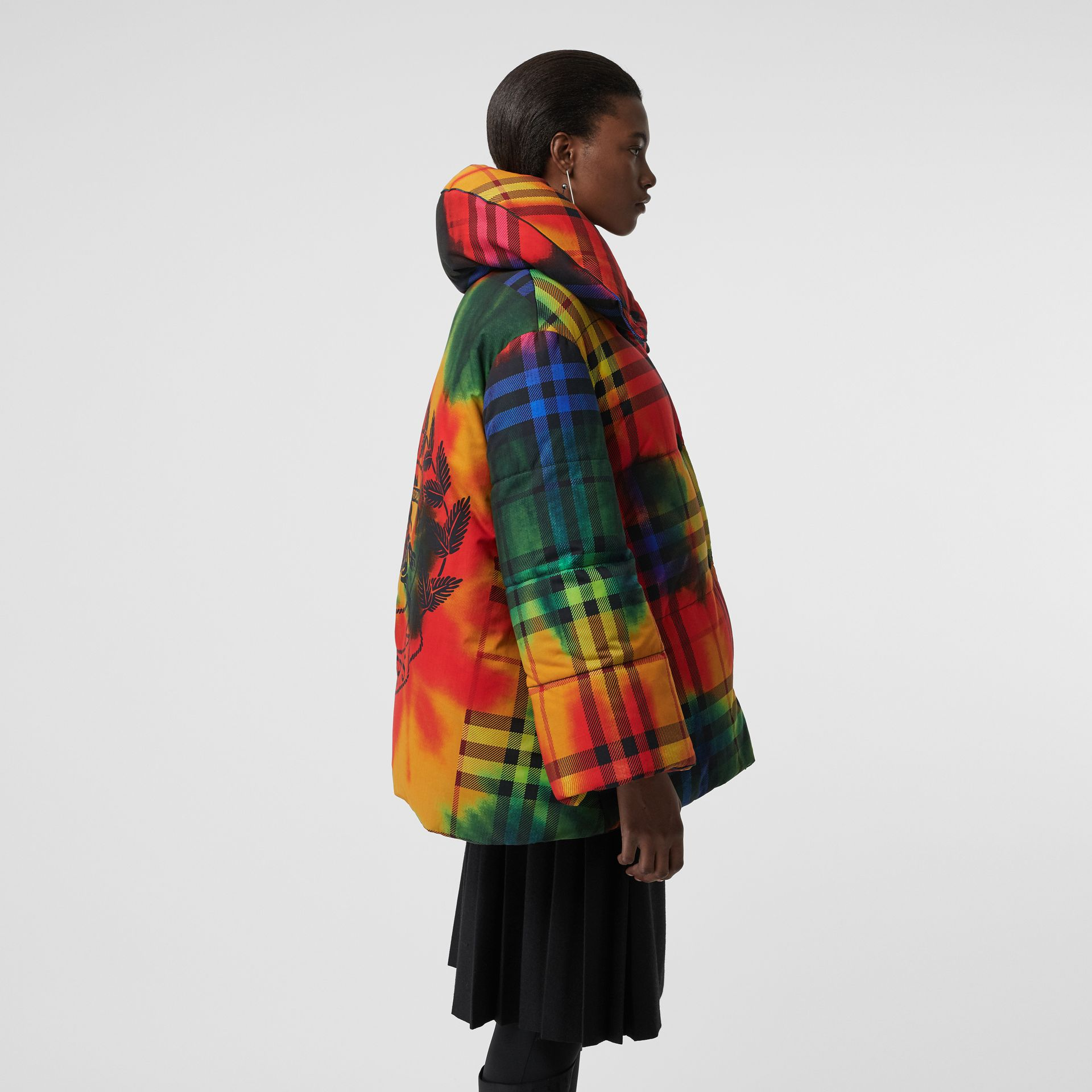 Tie-dye Vintage Check Down-filled Puffer Coat in Bright Red - Women | Burberry - gallery image 4