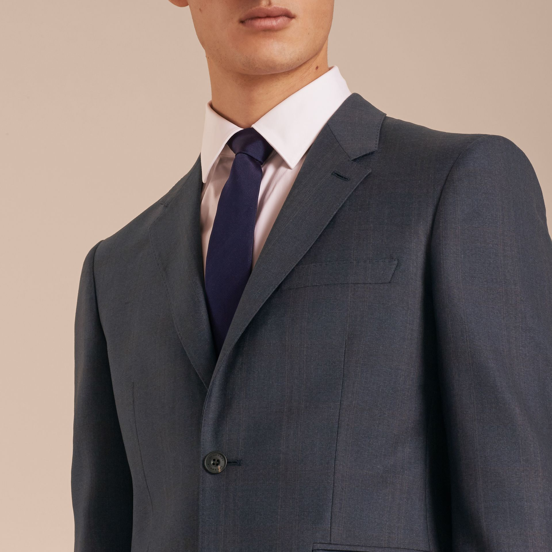 Navy Modern Fit Wool Half-canvas Suit - gallery image 6