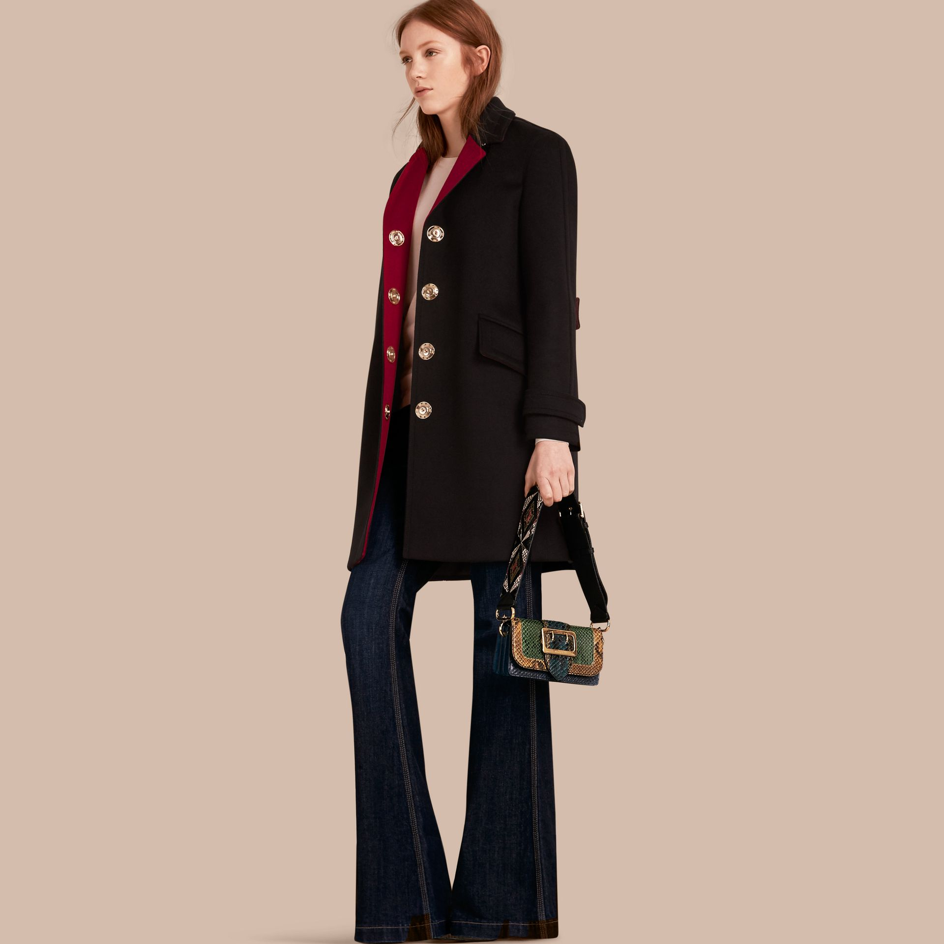 Single-breasted Wool Cashmere Military Coat - gallery image 1