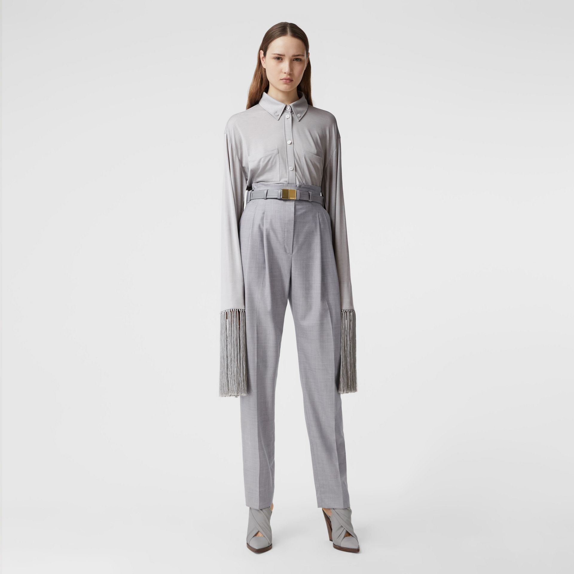 Cut-out Detail Wool Jersey Tailored Trousers in Cloud Grey - Women | Burberry Canada - gallery image 0