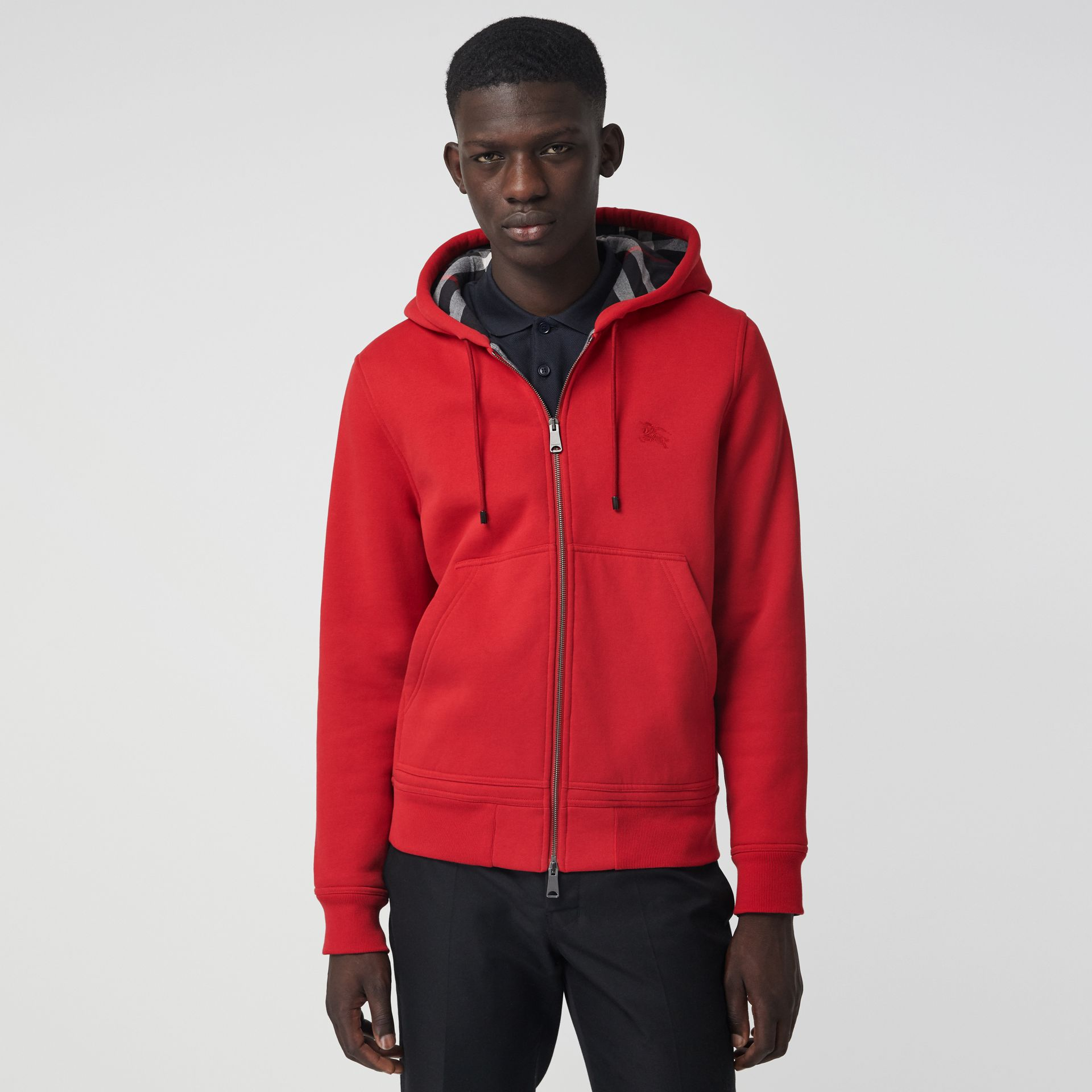 Check Detail Jersey Hooded Top in Military Red - Men | Burberry - gallery image 4