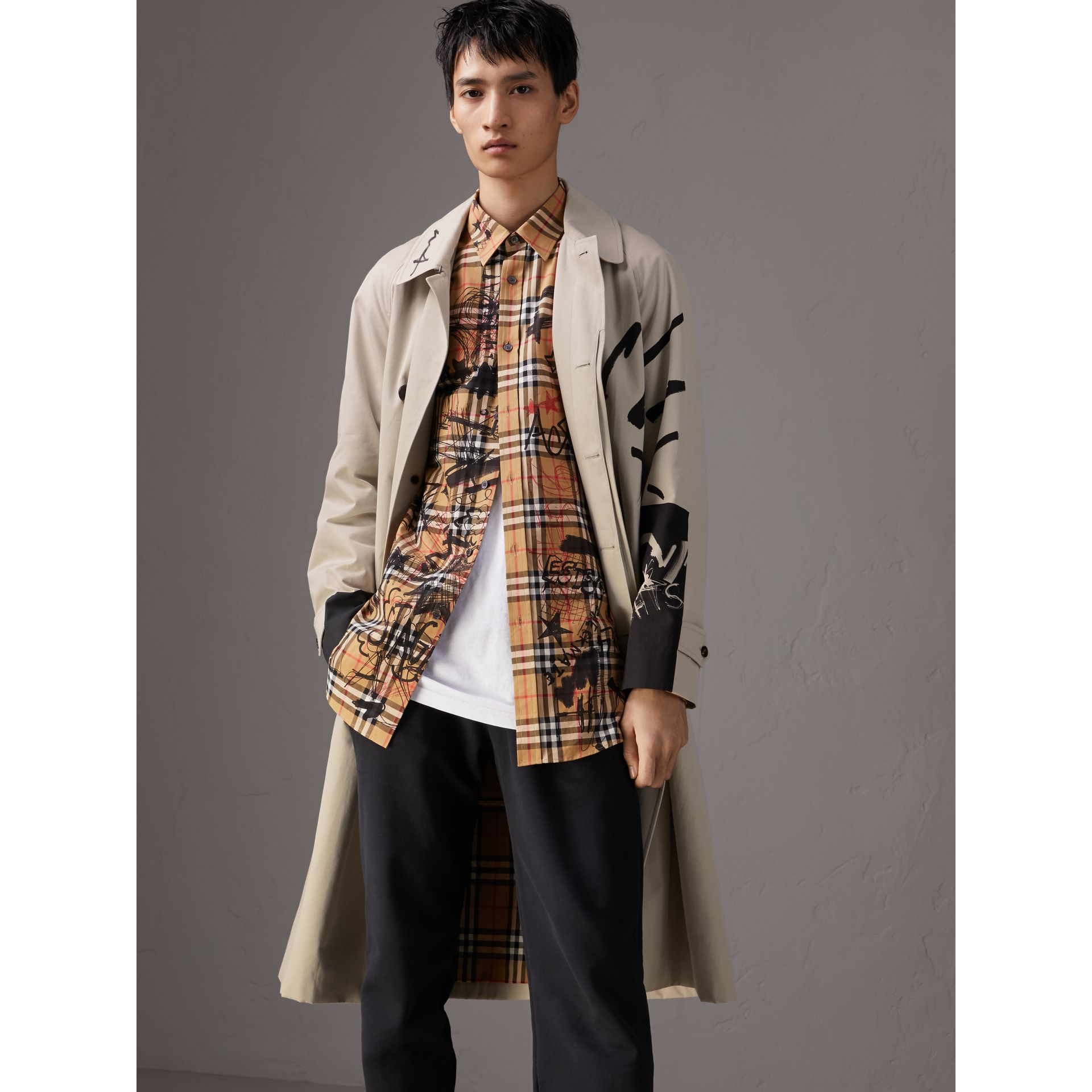 Burberry x Kris Wu Gabardine Car Coat in Stone - Men | Burberry - gallery image 6