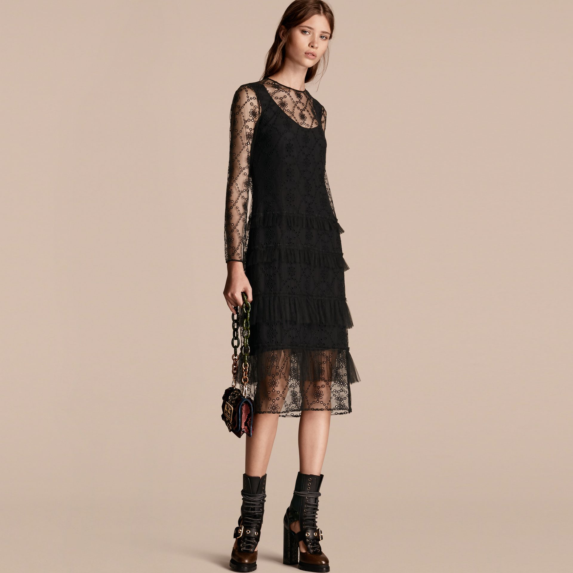 Black Embroidered Tulle Tiered Dress - gallery image 1