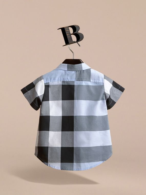 Short-sleeve Check Cotton Shirt in Cornflower Blue - cell image 3