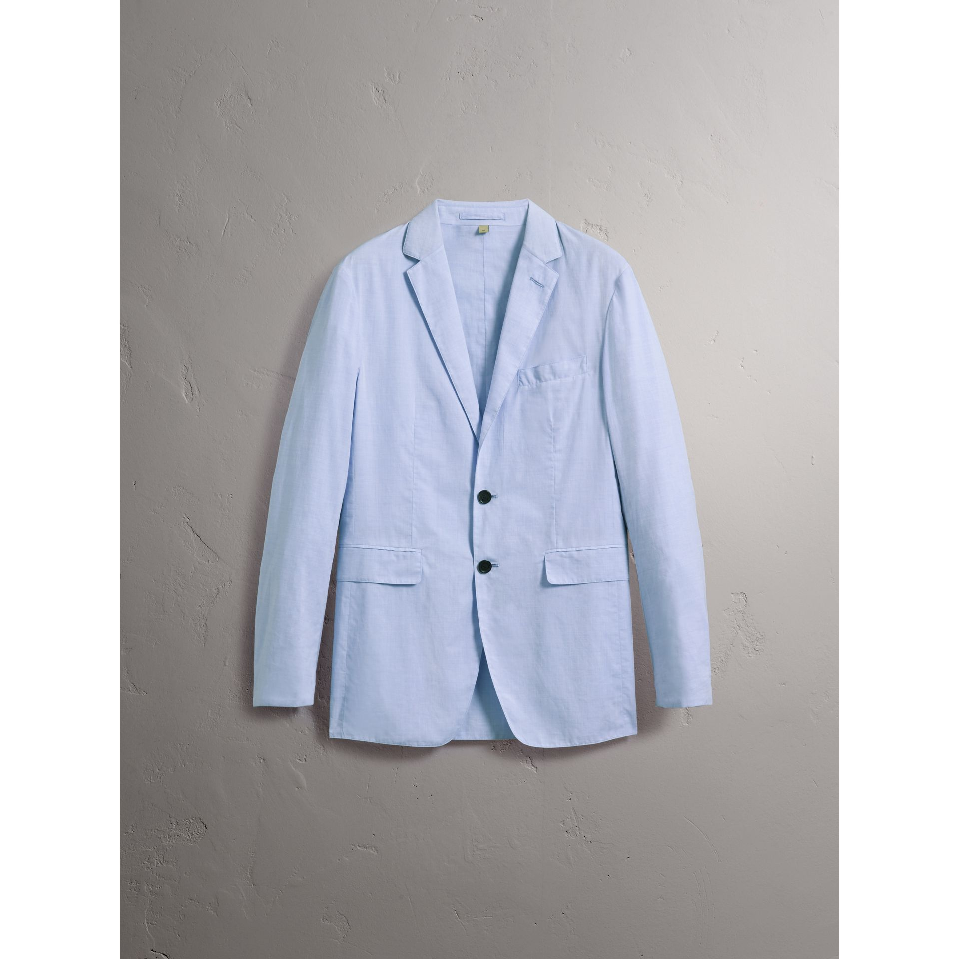 Lightweight Cotton Chambray Blazer in Pale Blue - Men | Burberry - gallery image 4