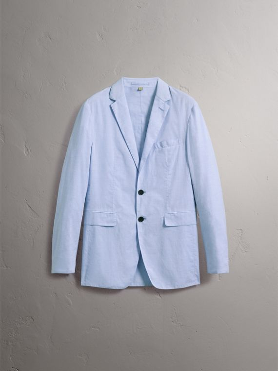 Lightweight Cotton Chambray Blazer in Pale Blue - Men | Burberry - cell image 3
