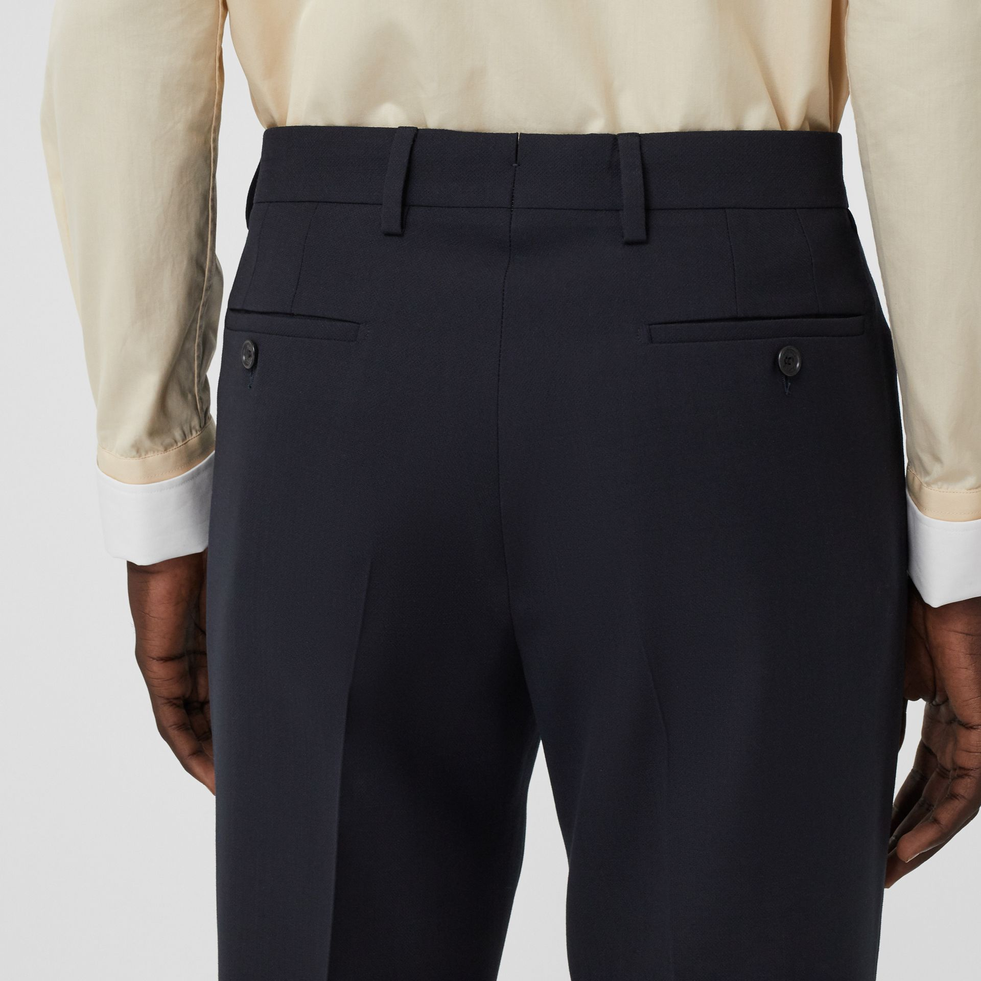 Classic Fit Double-faced Wool Crepe Tailored Trousers in Navy - Men | Burberry - gallery image 1