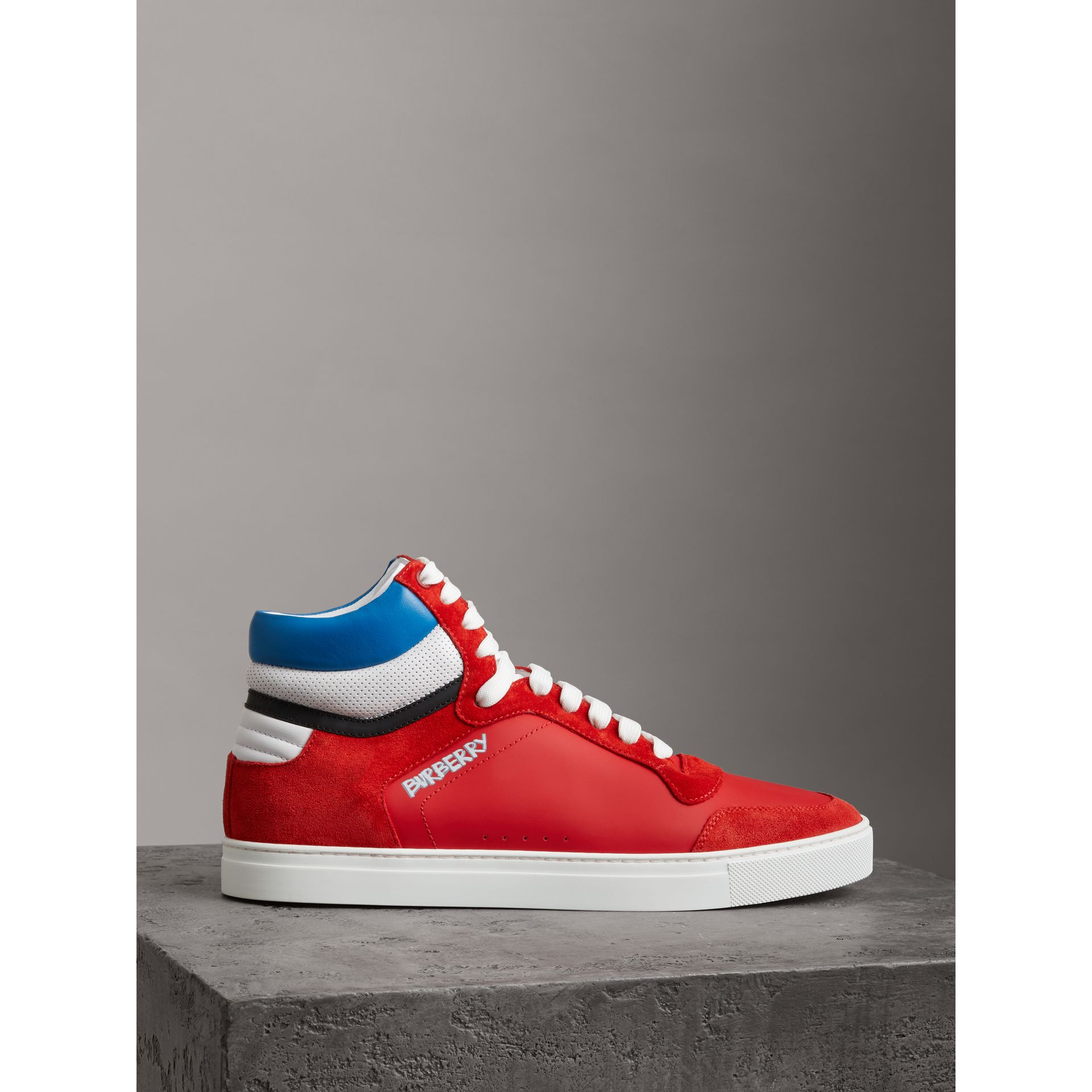 Leather and Suede High-top Sneakers in Bright Red - Men | Burberry - gallery image 4