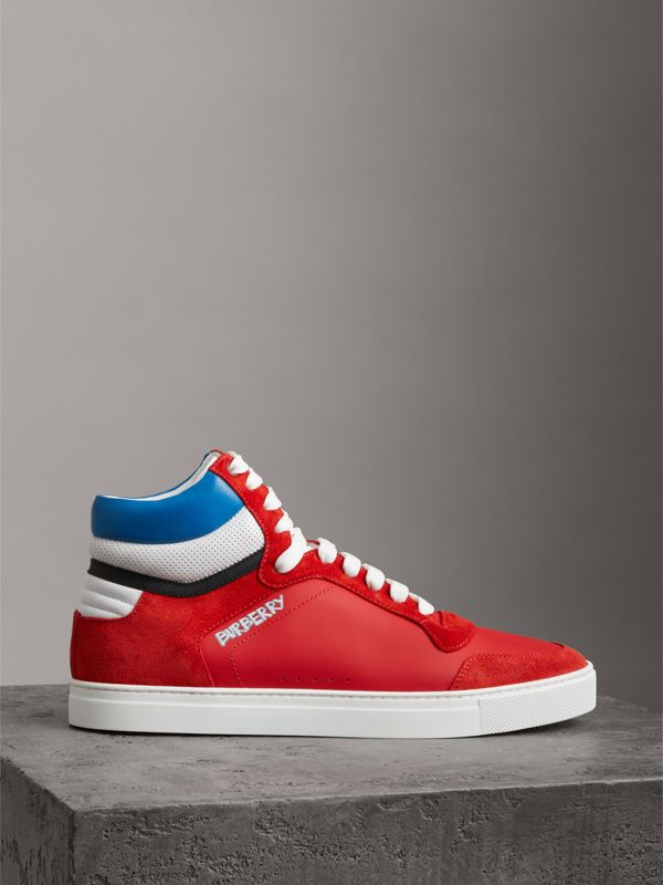Leather and Suede High-top Sneakers in Bright Red - Men | Burberry - cell image 3