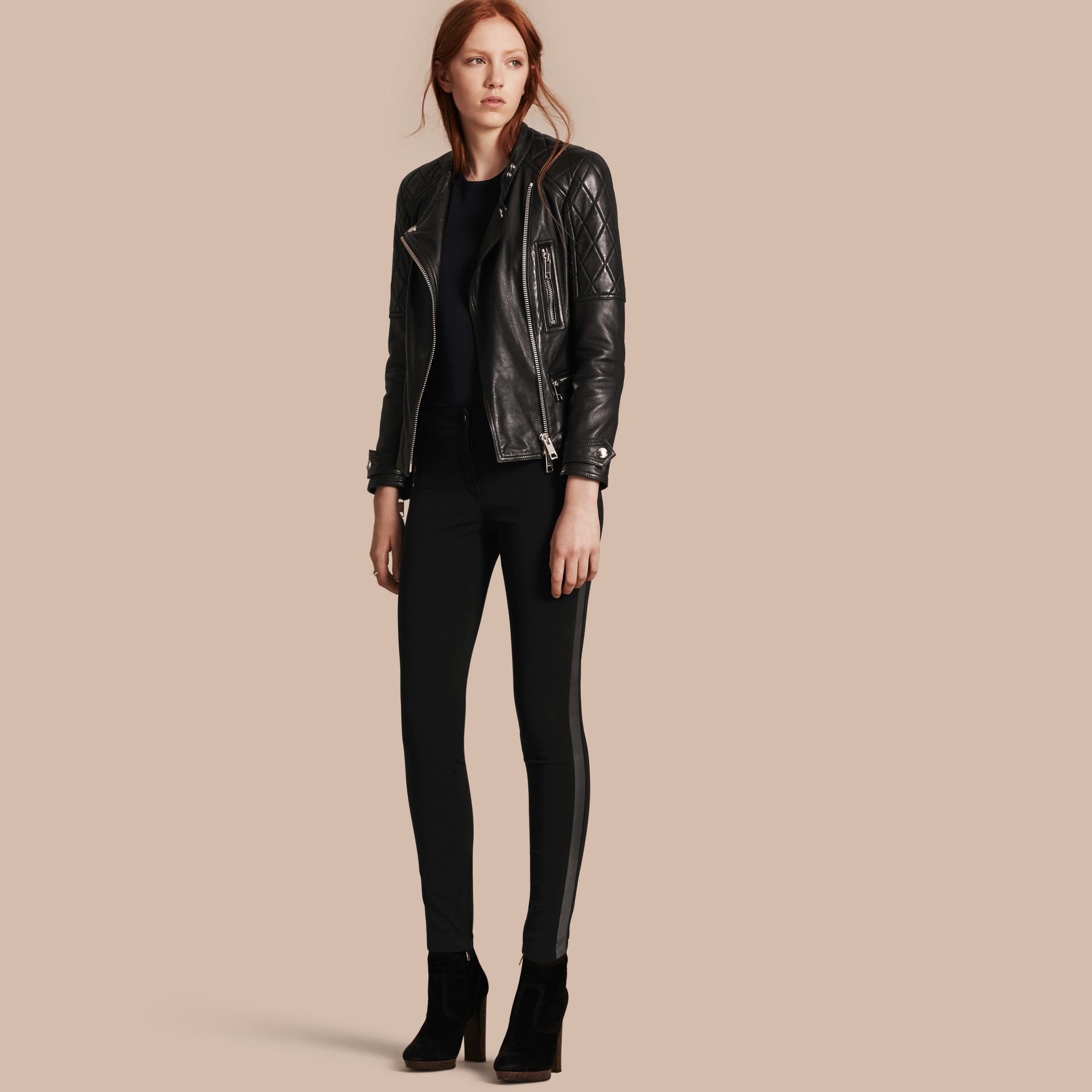 Black Skinny Fit Leather Panel Leggings - gallery image 1