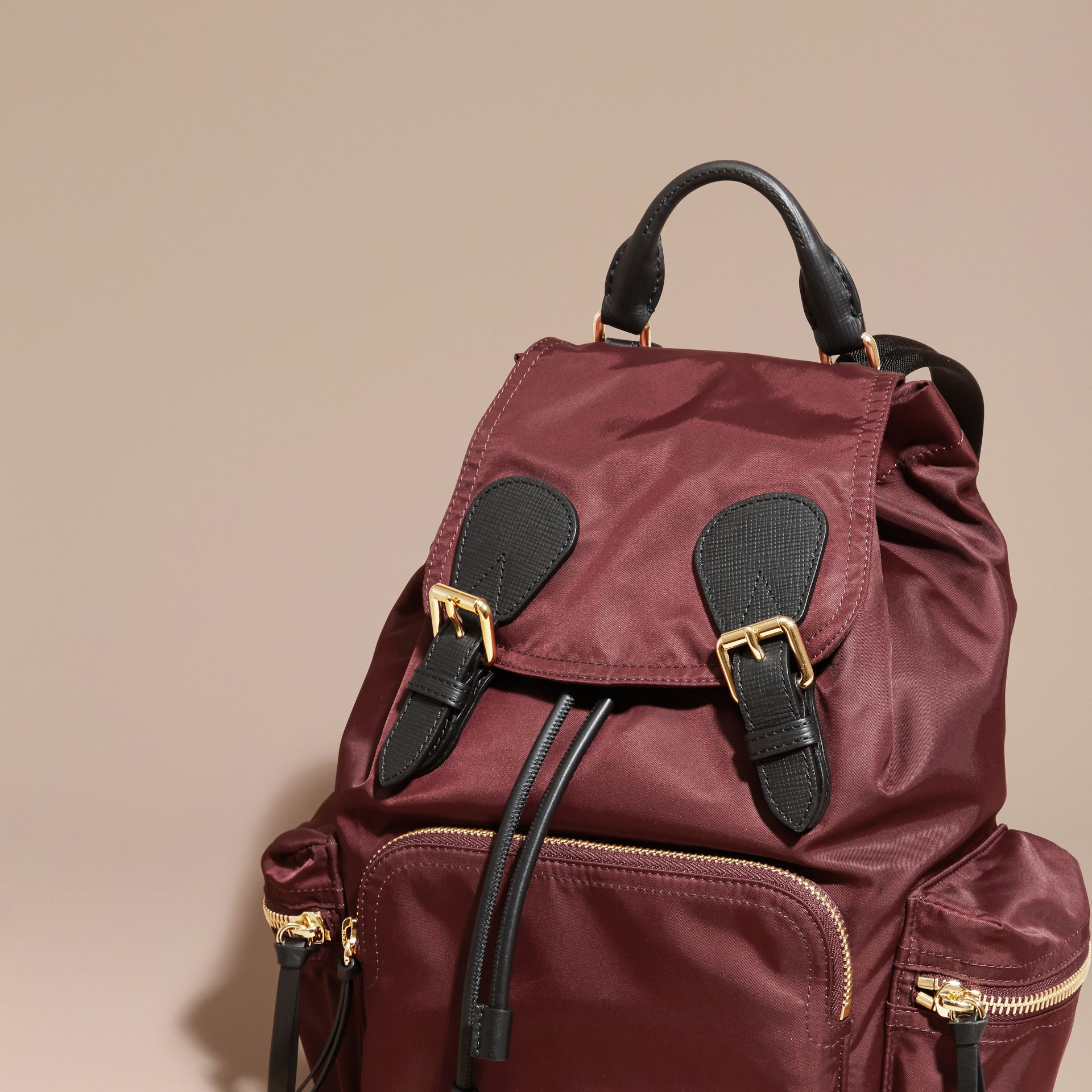 The Medium Rucksack in Technical Nylon and Leather Burgundy Red - gallery image 8