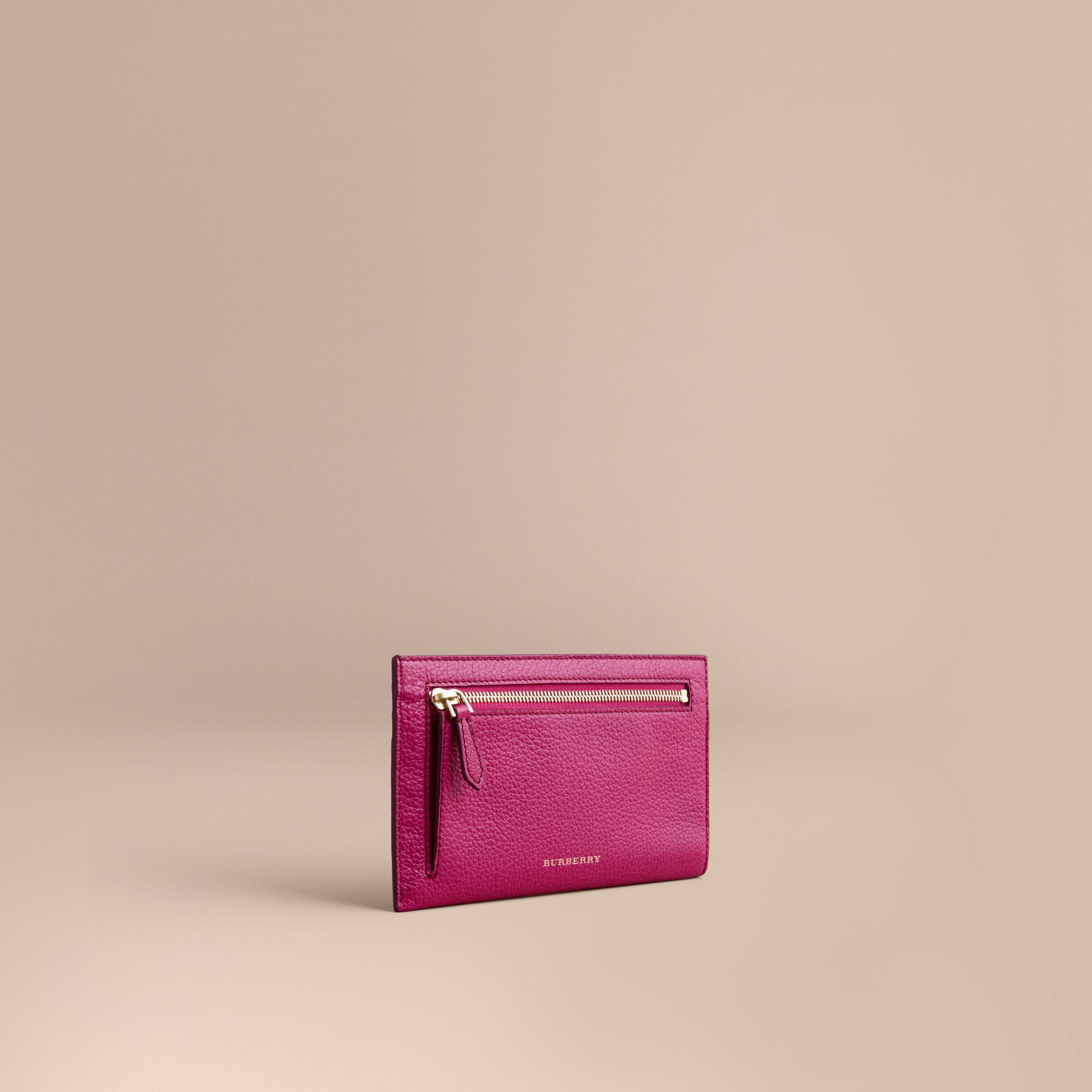 Grainy Leather Travel Case in Brilliant Fuchsia - Women | Burberry - gallery image 1