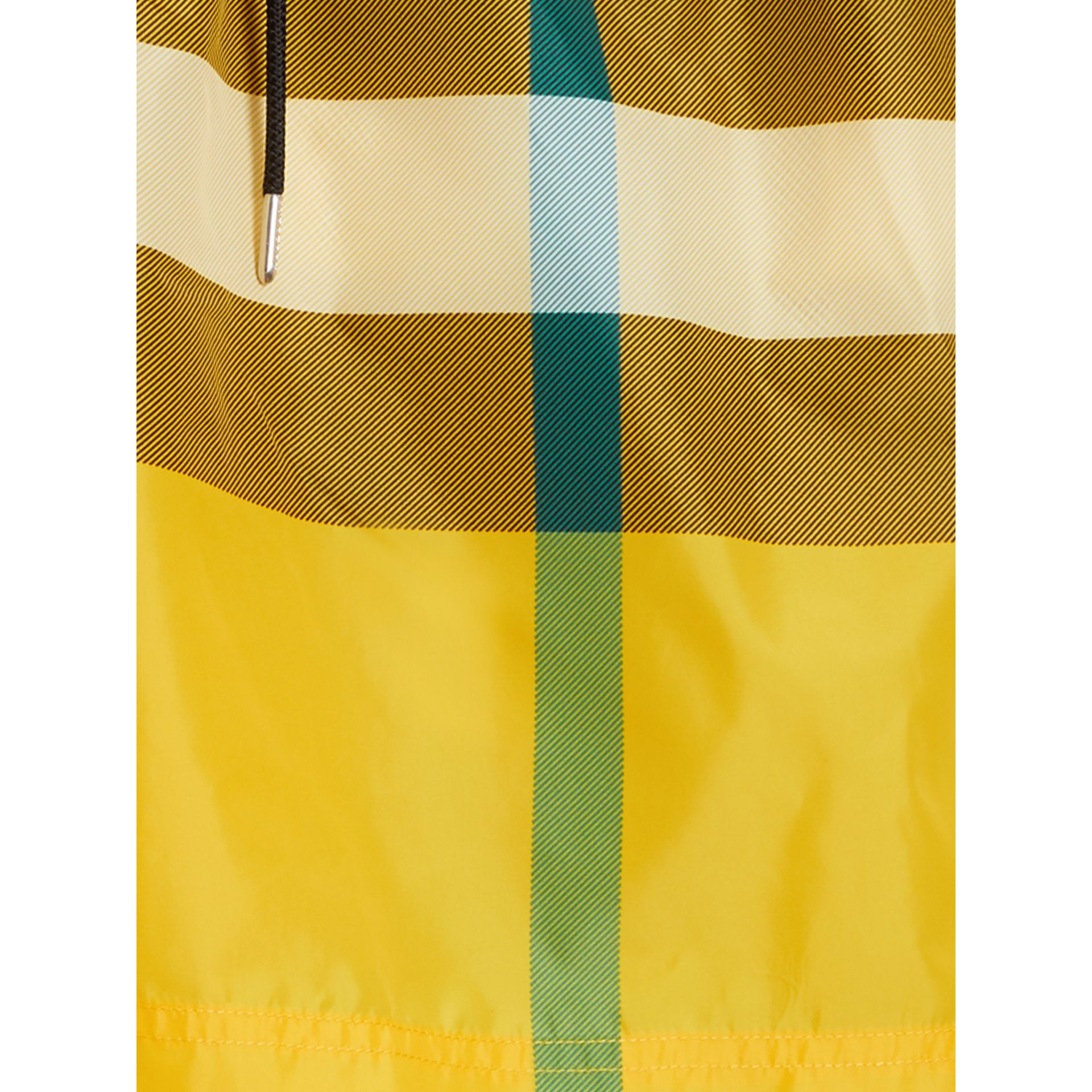 Check Drawcord Swim Shorts in Bright Yellow - Men | Burberry Australia - gallery image 1