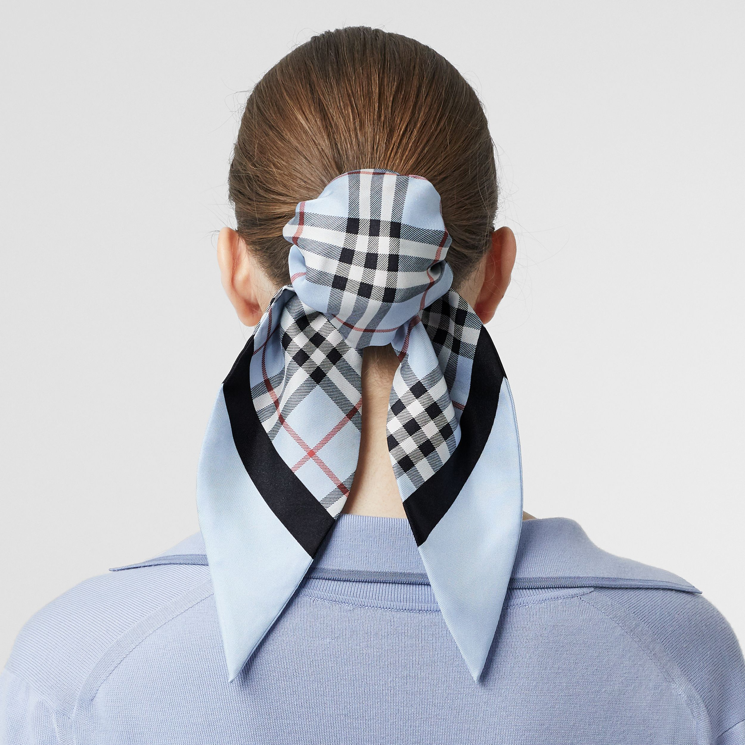 Vintage Check Print Silk Hair Scarf in Pale Blue - Women | Burberry - 3