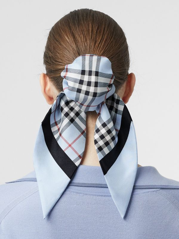 Vintage Check Print Silk Hair Scarf in Pale Blue - Women | Burberry Australia - cell image 2