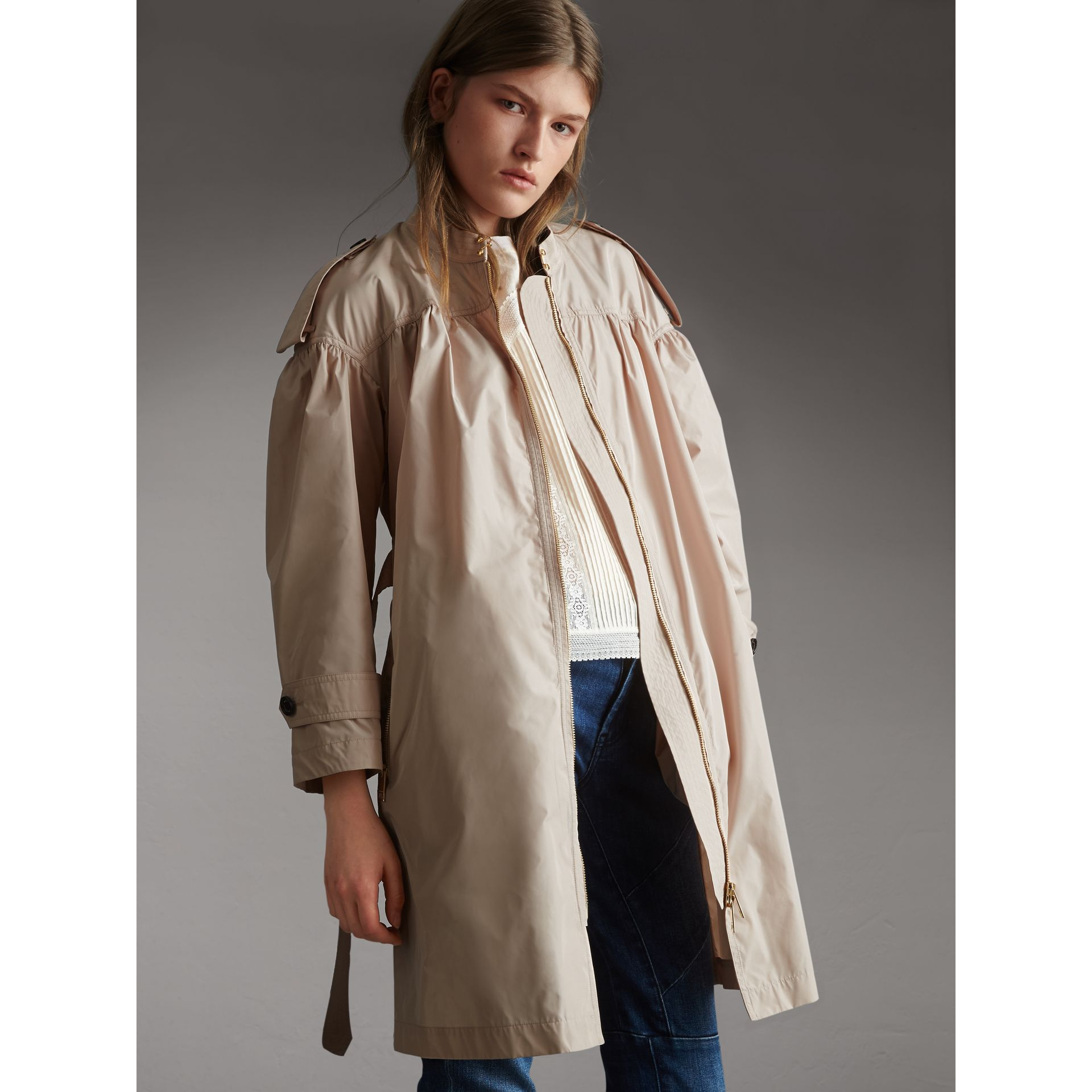 Lightweight Ruched Coat in Antique Taupe Pink - Women | Burberry Singapore - gallery image 6