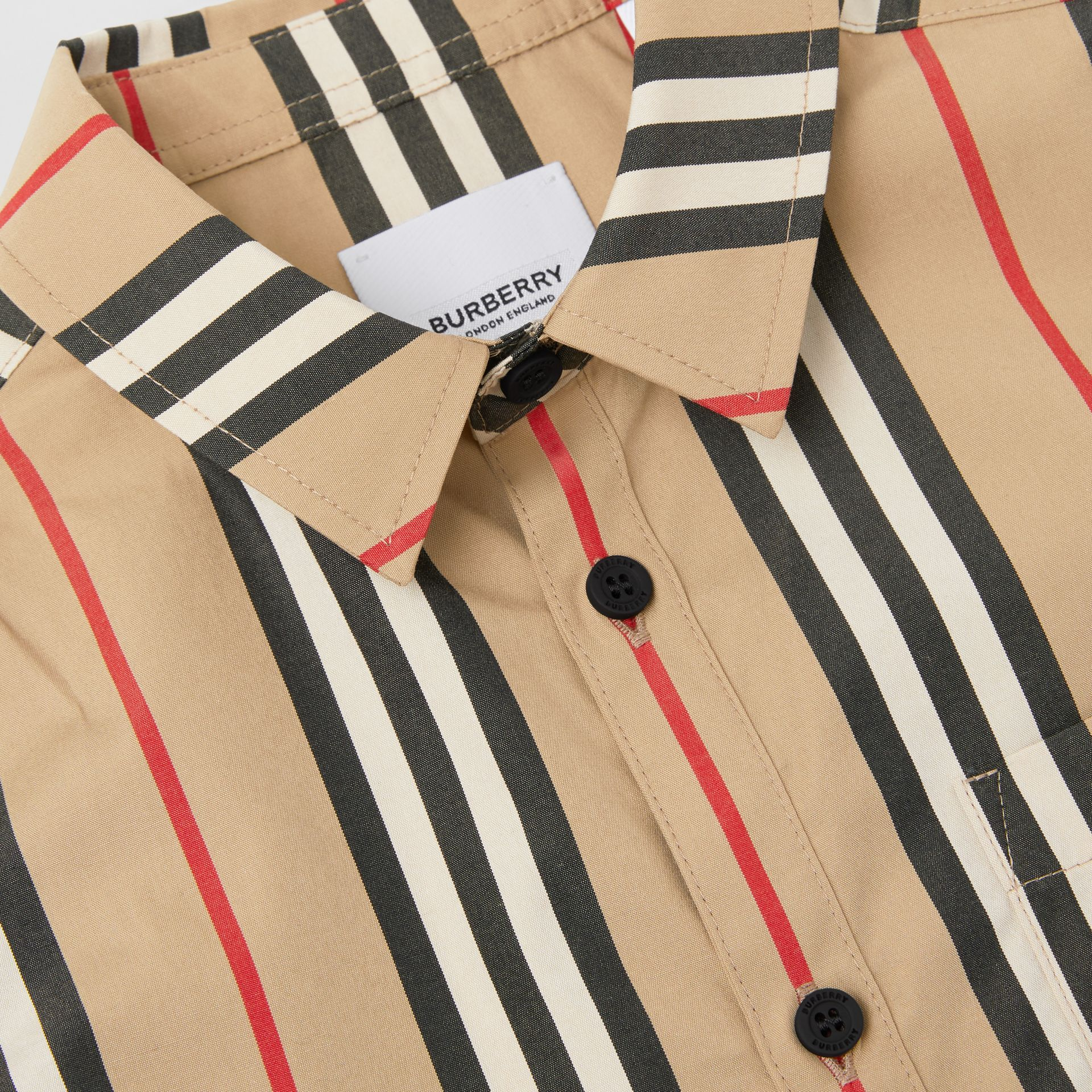 Short-sleeve Icon Stripe Cotton Poplin Shirt in Archive Beige | Burberry - gallery image 1