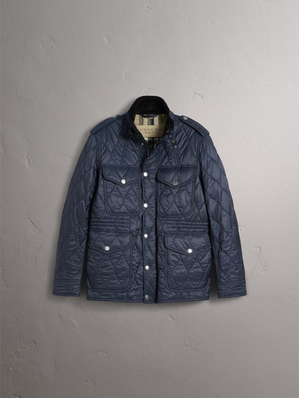 Diamond Quilted Field Jacket in Navy - Men | Burberry - cell image 3