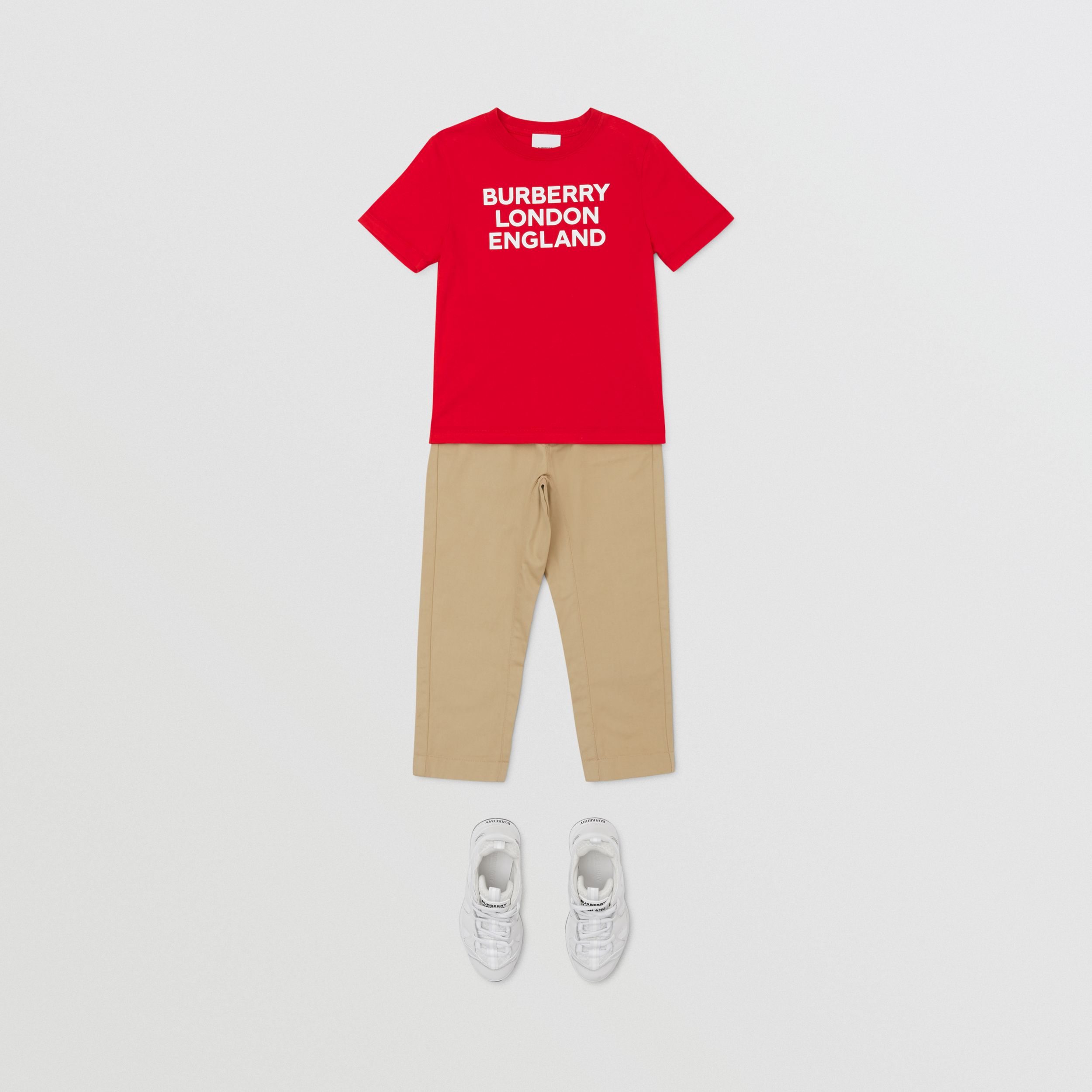Logo Print Cotton T-shirt in Bright Red | Burberry - 4
