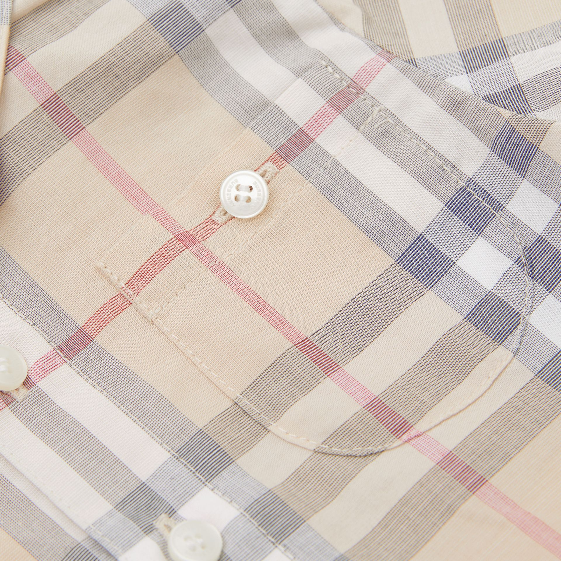 Button-down Collar Short-sleeve Check Cotton Shirt in Pale Stone - Children | Burberry United Kingdom - gallery image 1