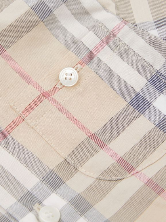 Button-down Collar Short-sleeve Check Cotton Shirt in Pale Stone - Children | Burberry United Kingdom - cell image 1