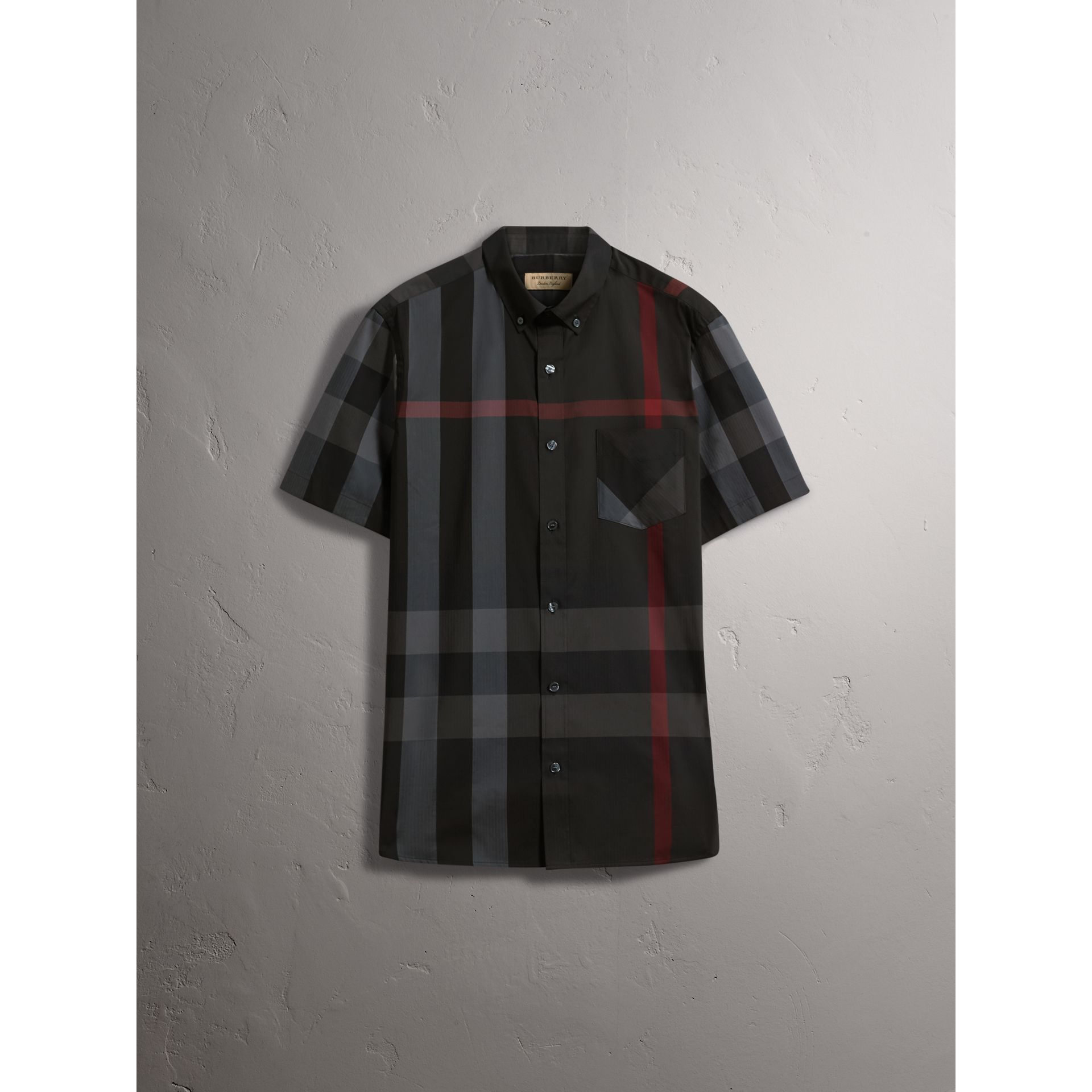 Short-sleeve Check Stretch Cotton Blend Shirt in Charcoal - Men | Burberry Australia - gallery image 3