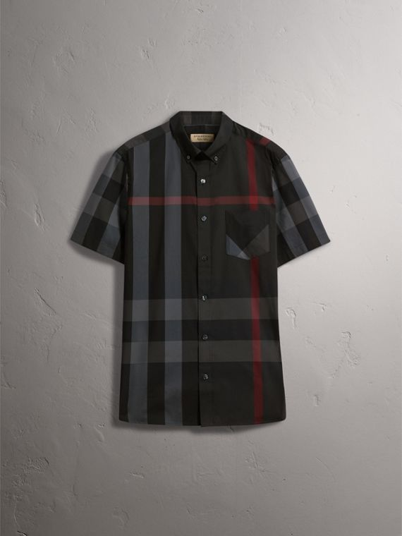 Short-sleeve Check Stretch Cotton Blend Shirt in Charcoal - Men | Burberry United Kingdom - cell image 3