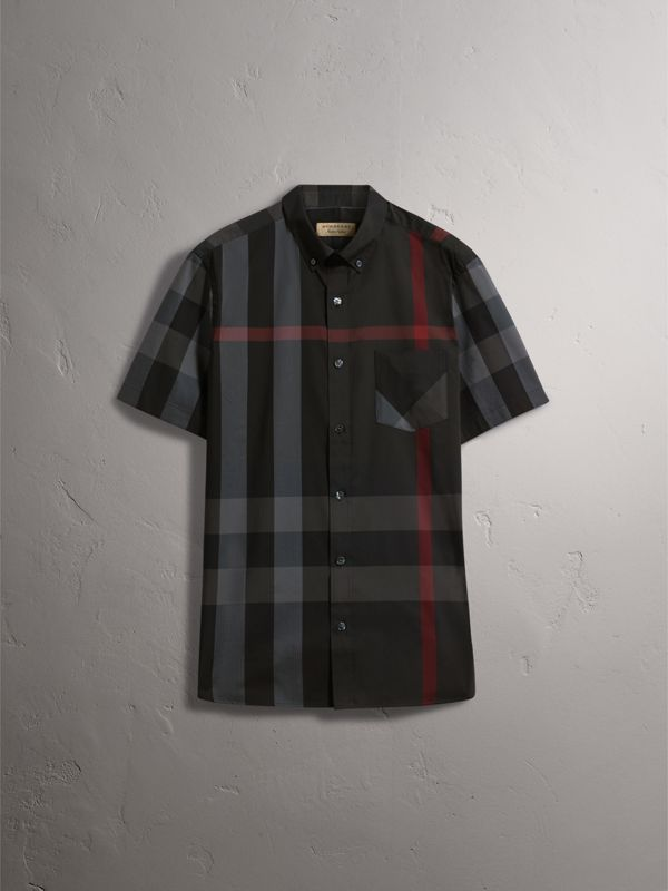 Short-sleeve Check Stretch Cotton Blend Shirt in Charcoal - Men | Burberry - cell image 3