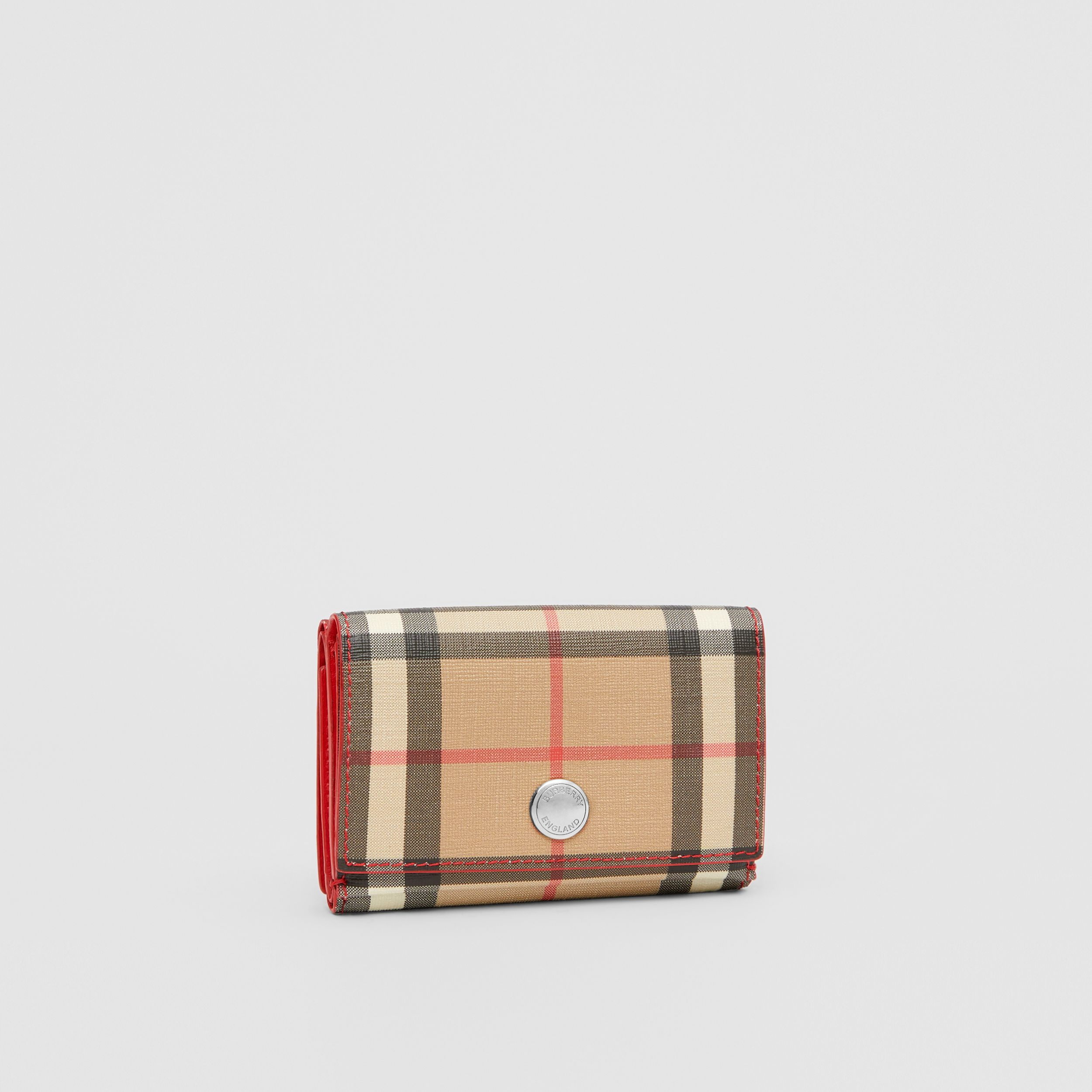 Small Vintage Check E-canvas Folding Wallet in Bright Military Red - Women | Burberry Australia - 4