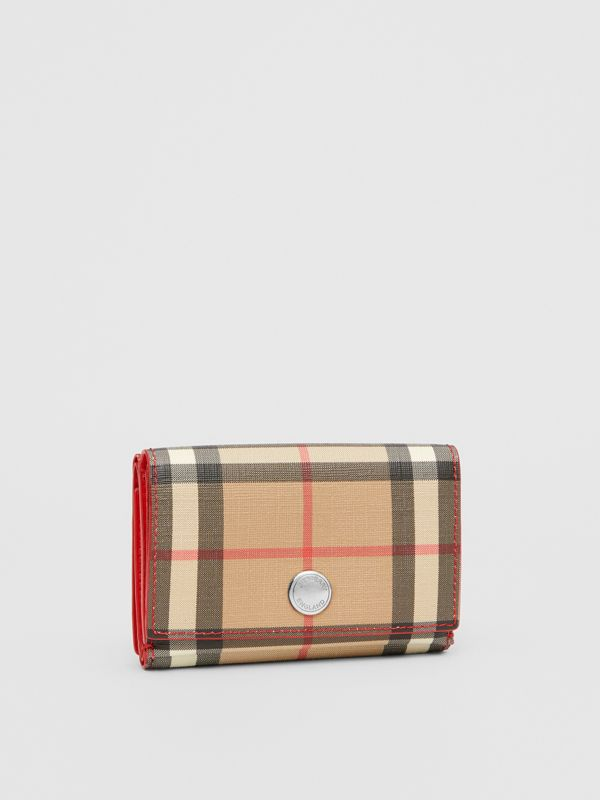 Small Vintage Check E-canvas Folding Wallet in Bright Military Red - Women | Burberry Australia - cell image 3
