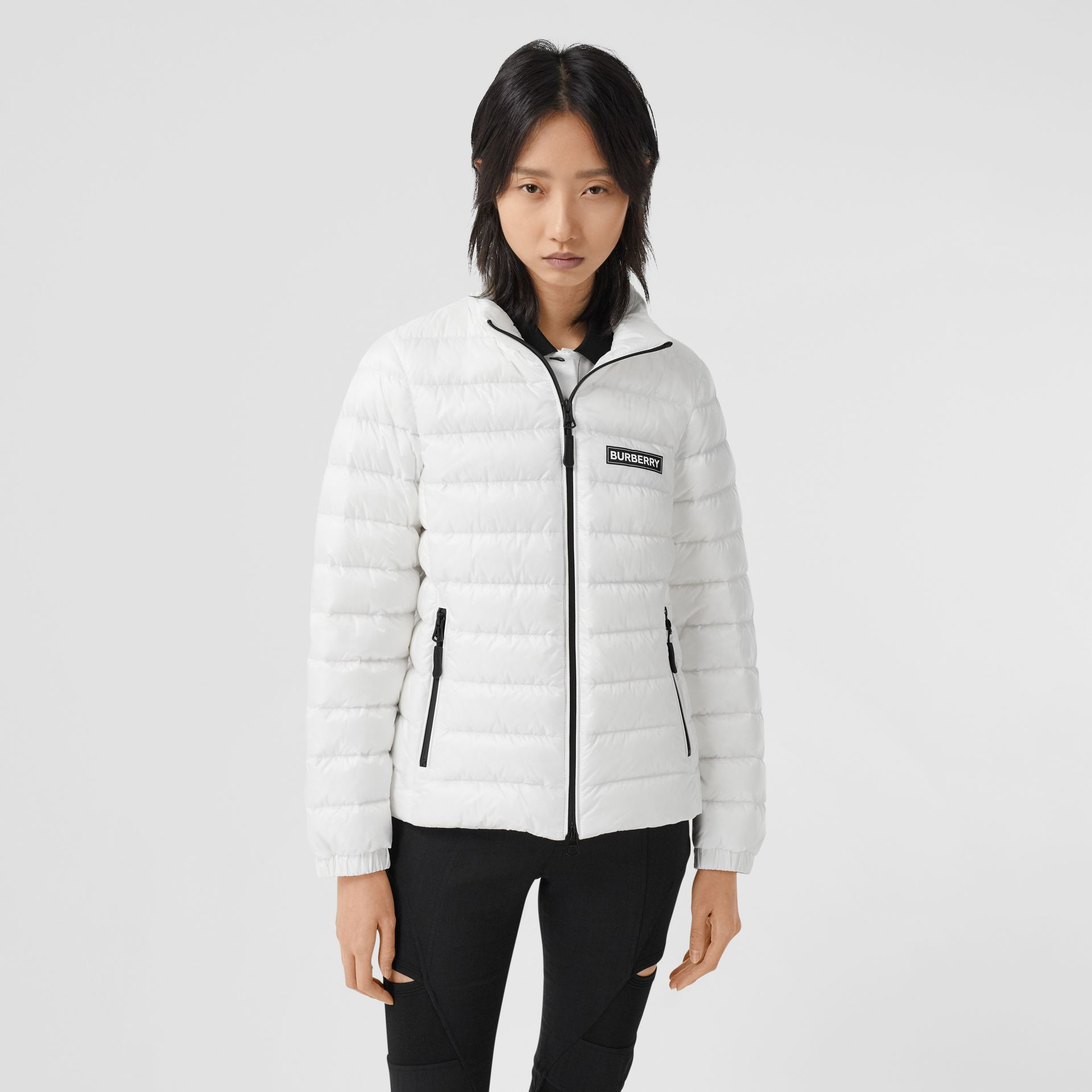 Logo Print Lightweight Puffer Jacket in White - Women | Burberry Australia - gallery image 5