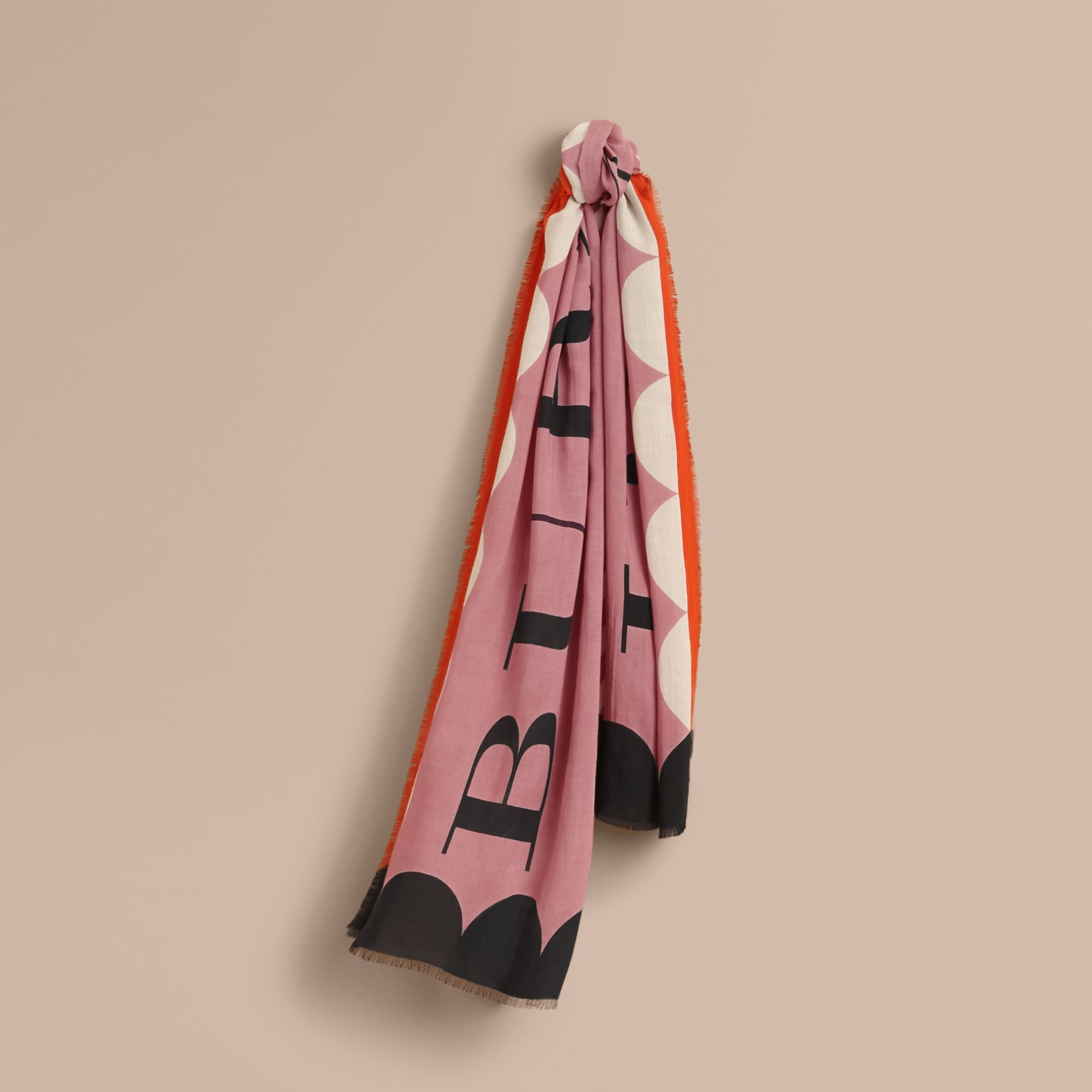 Scallop and Stripe Print Modal Wool Scarf in Dusty Pink - Women | Burberry Australia - gallery image 1