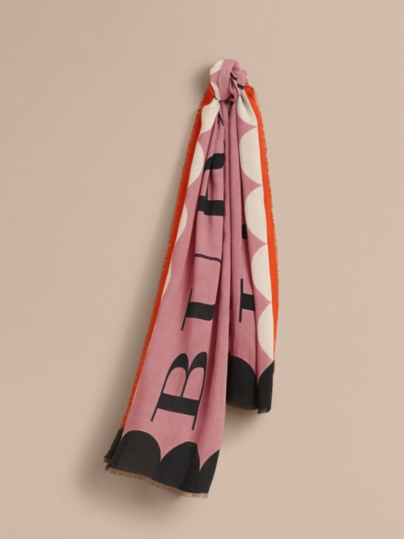 Scallop and Stripe Print Modal Wool Scarf in Dusty Pink