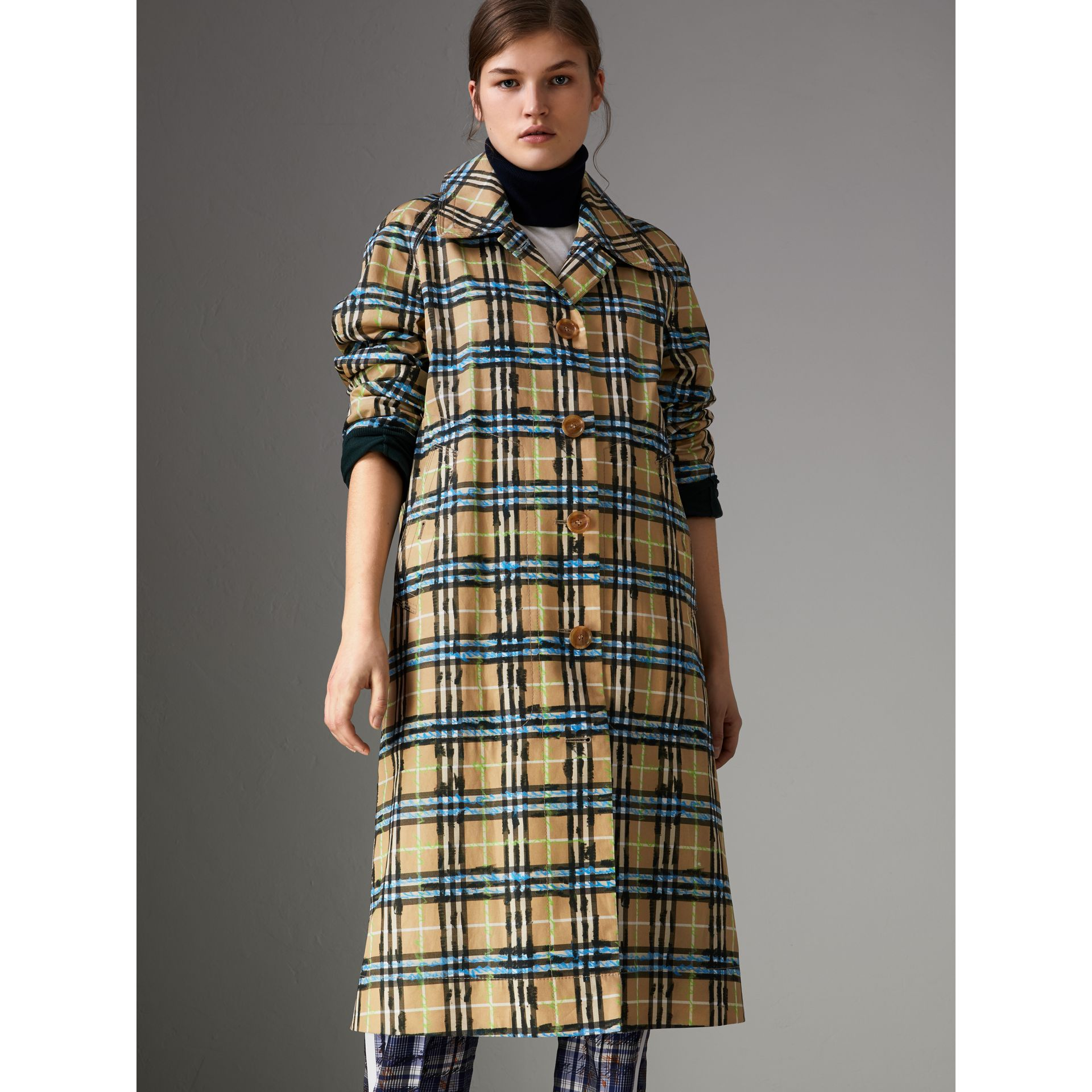 Scribble Check Cotton Gabardine Car Coat in Bright Blue - Women | Burberry Canada - gallery image 5